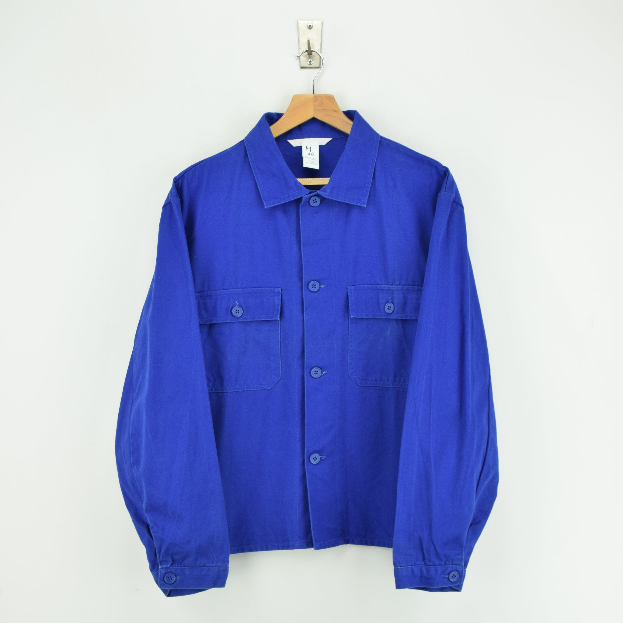 Vintage Bright Blue French Style Worker Sanforized Chore Shirt Jacket M / L front