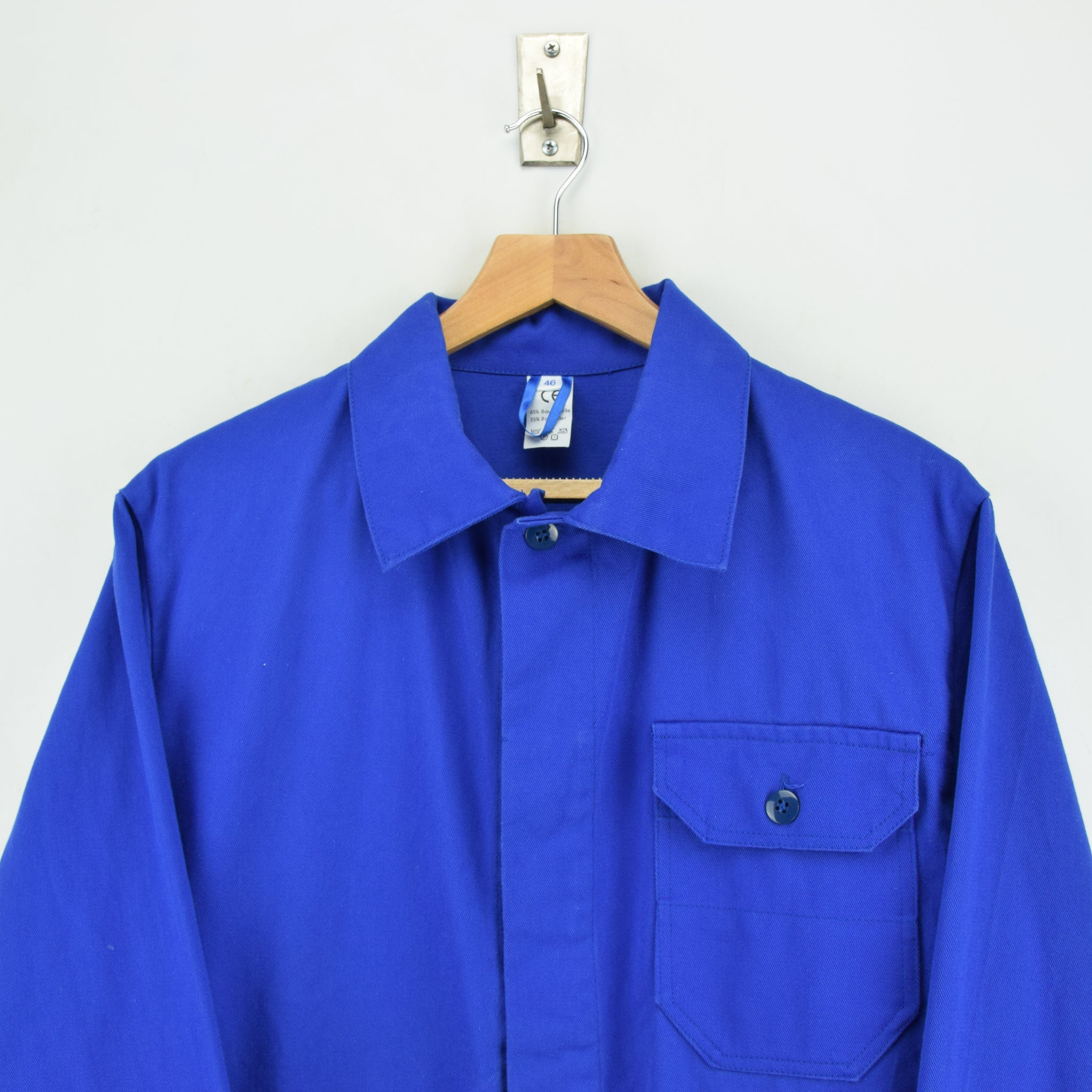 Vintage Bright Blue French Style Worker Sanforized Cotton Chore Jacket M chest