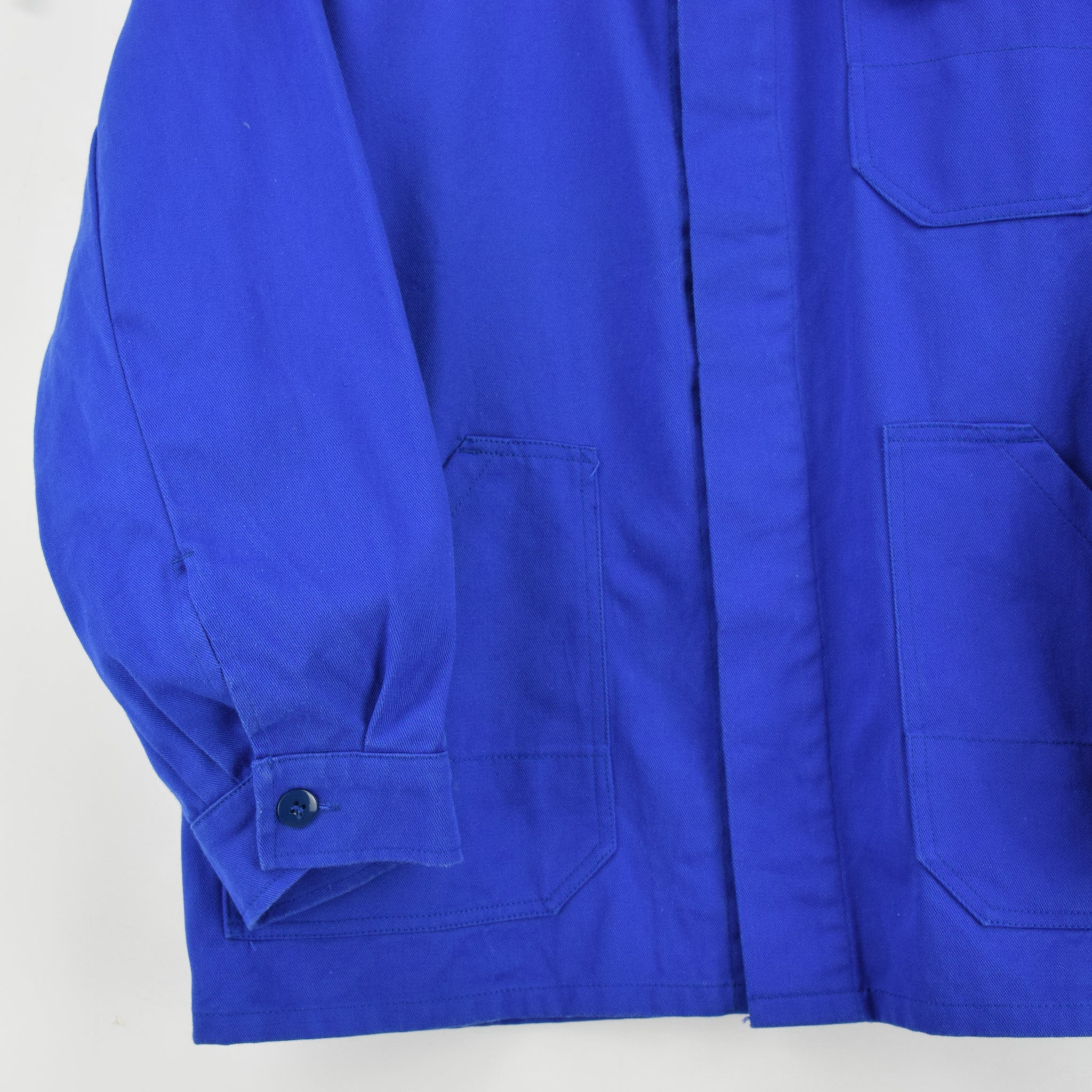 Vintage Bright Blue French Style Worker Sanforized Cotton Chore Jacket M front hem