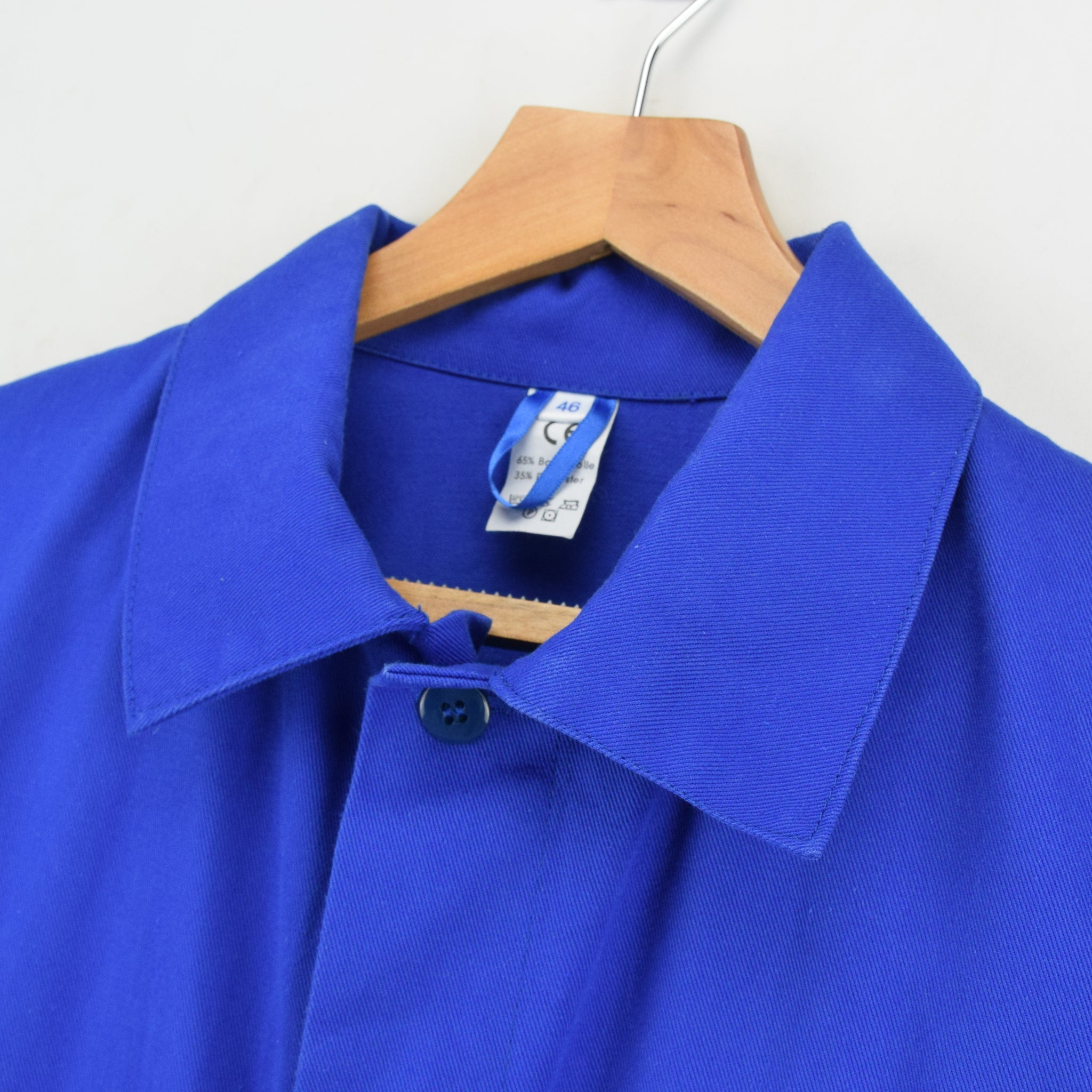 Vintage Bright Blue French Style Worker Sanforized Cotton Chore Jacket M collar