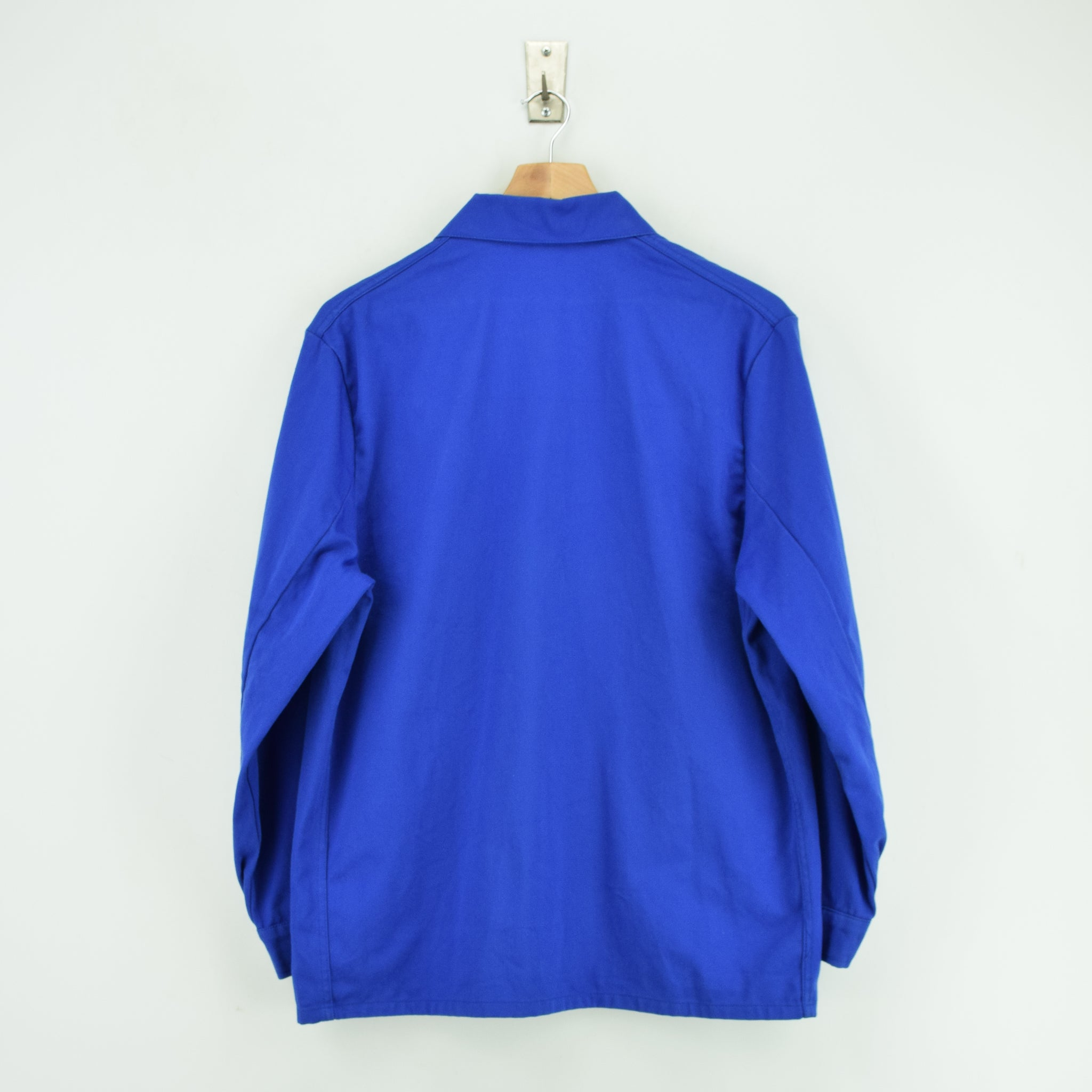 Vintage Bright Blue French Style Worker Sanforized Cotton Chore Jacket M back