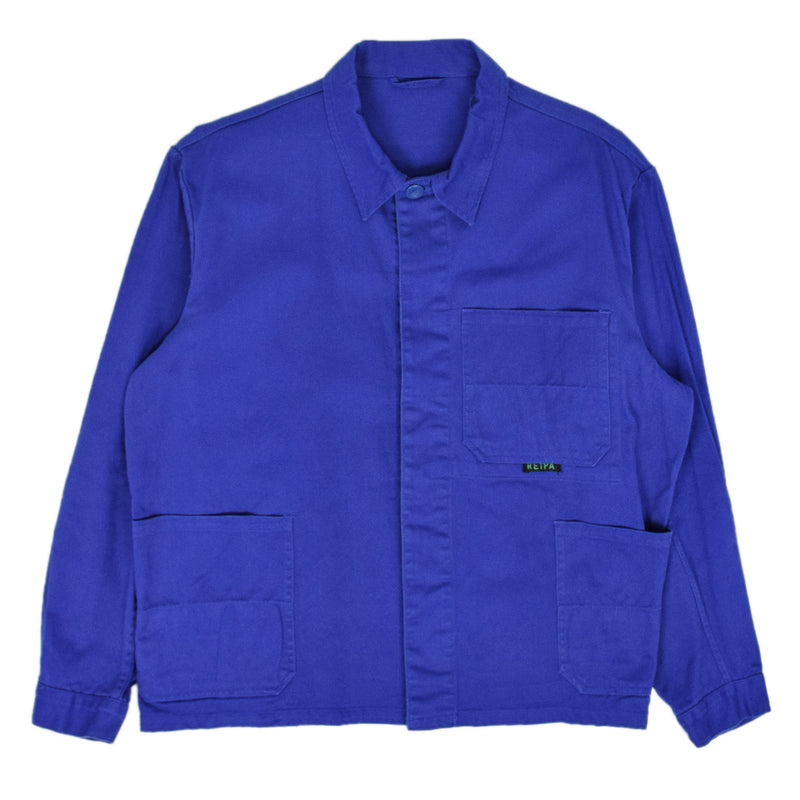 Vintage Bright Blue French Style Worker Sanforized Cotton Chore Jacket L front