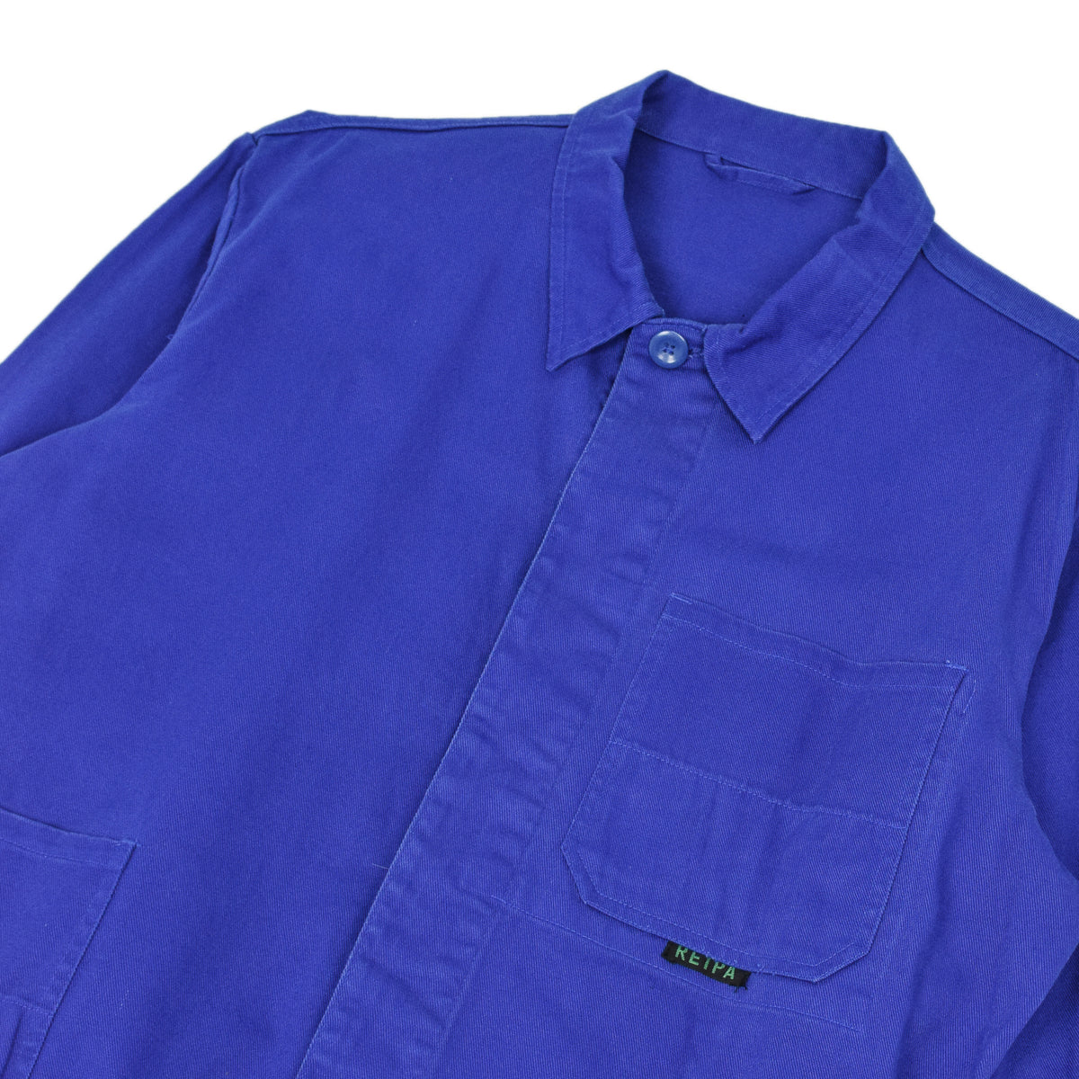 Vintage Bright Blue French Style Worker Sanforized Cotton Chore Jacket L details