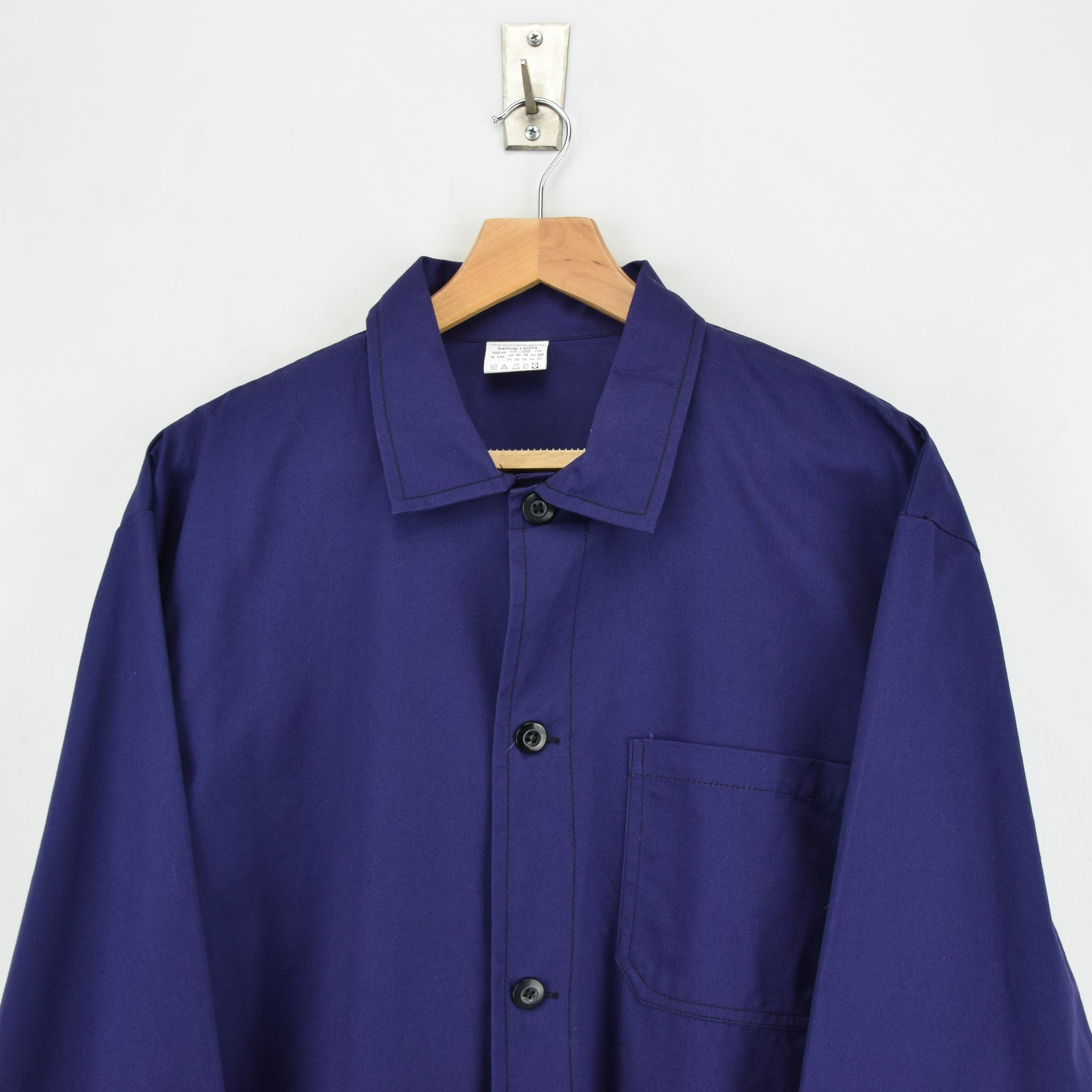 Vintage Blue Purple French Style Worker Sanforized Cotton Chore Jacket L chest