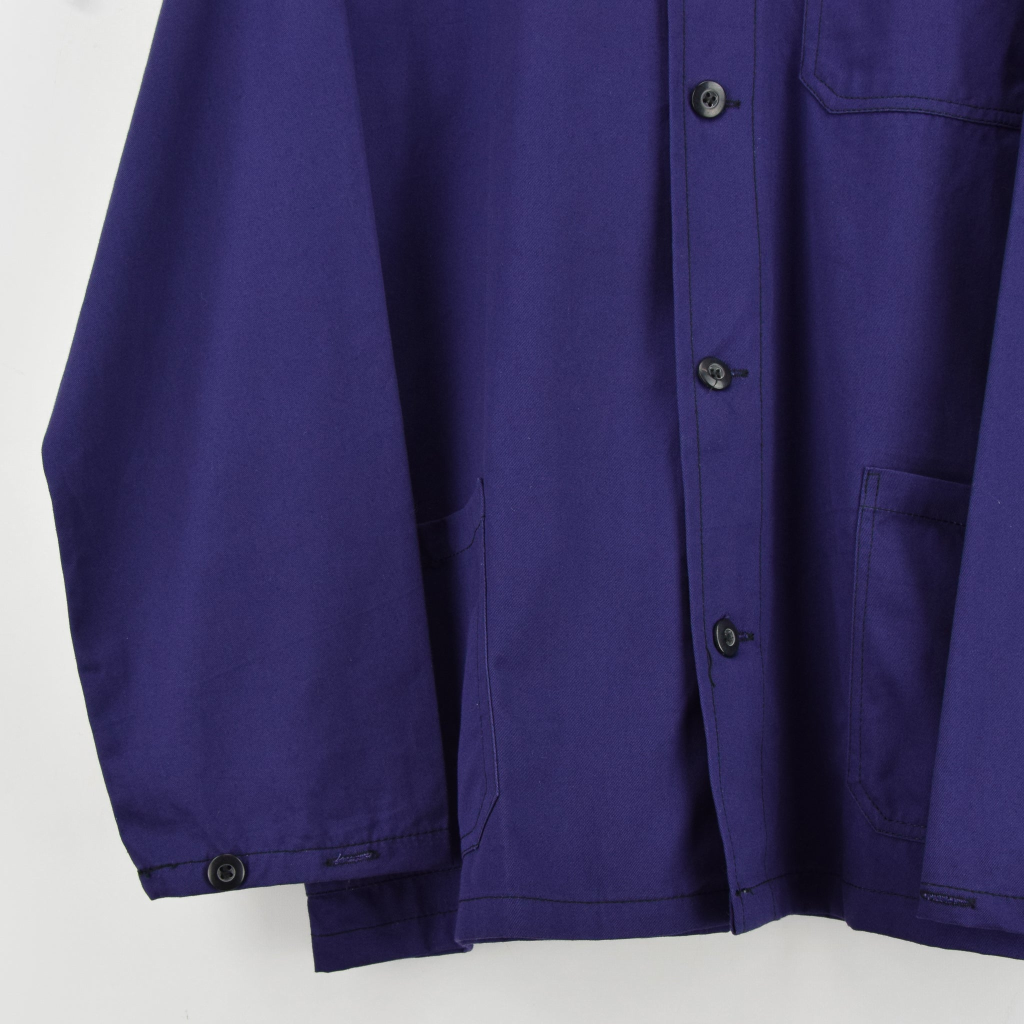Vintage Blue Purple French Style Worker Sanforized Cotton Chore Jacket L front hem