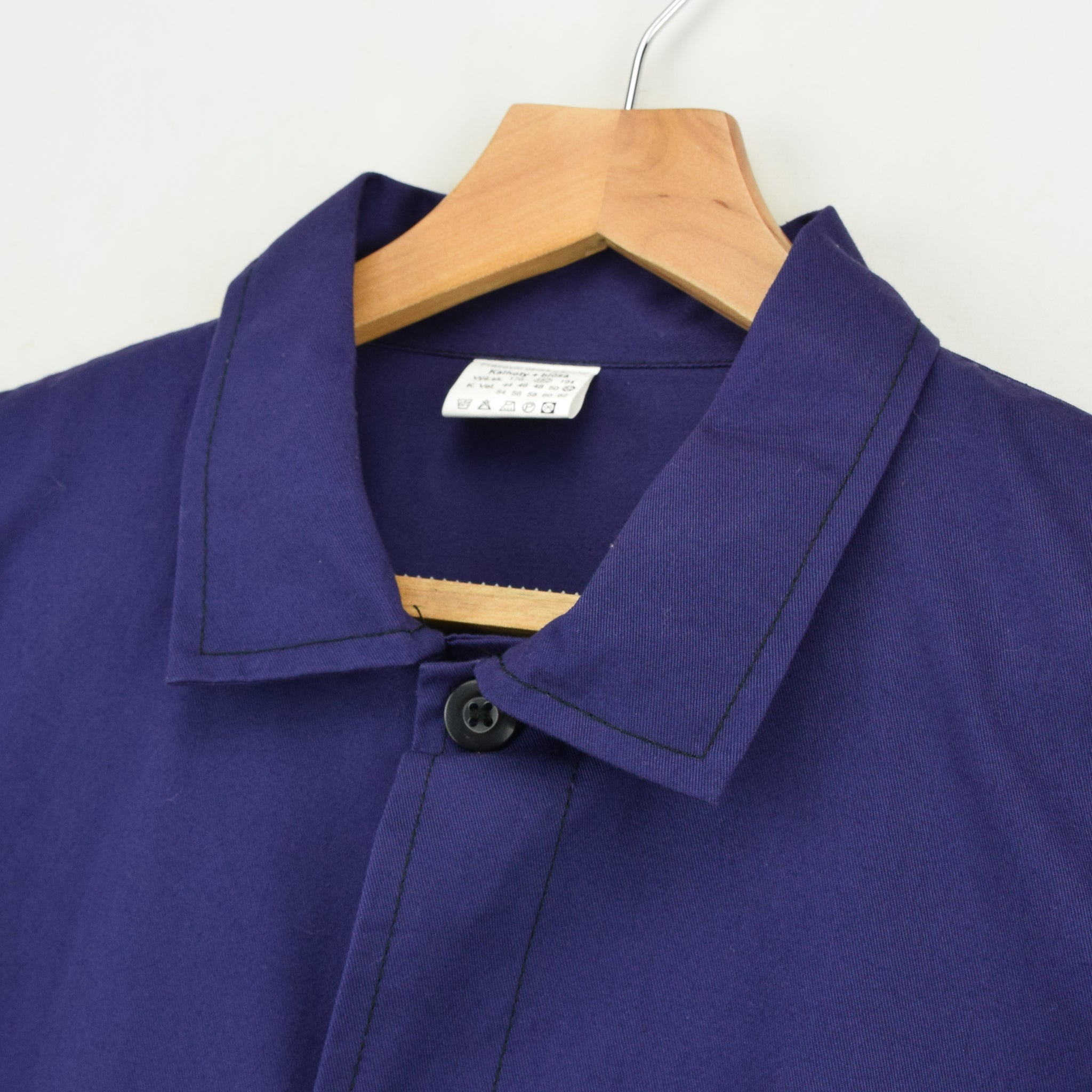 Vintage Blue Purple French Style Worker Sanforized Cotton Chore Jacket L collar