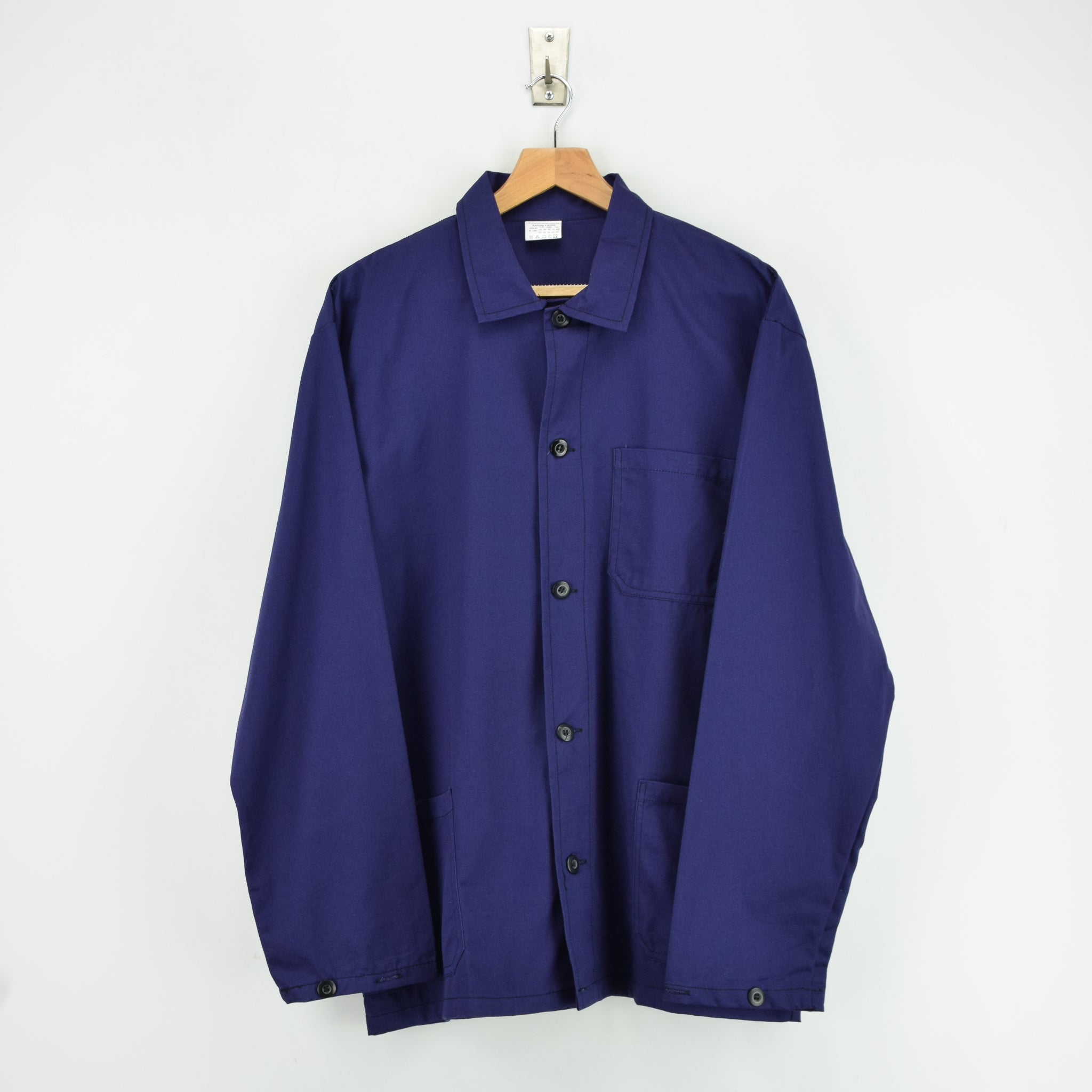 Vintage Blue Purple French Style Worker Sanforized Cotton Chore Jacket L front