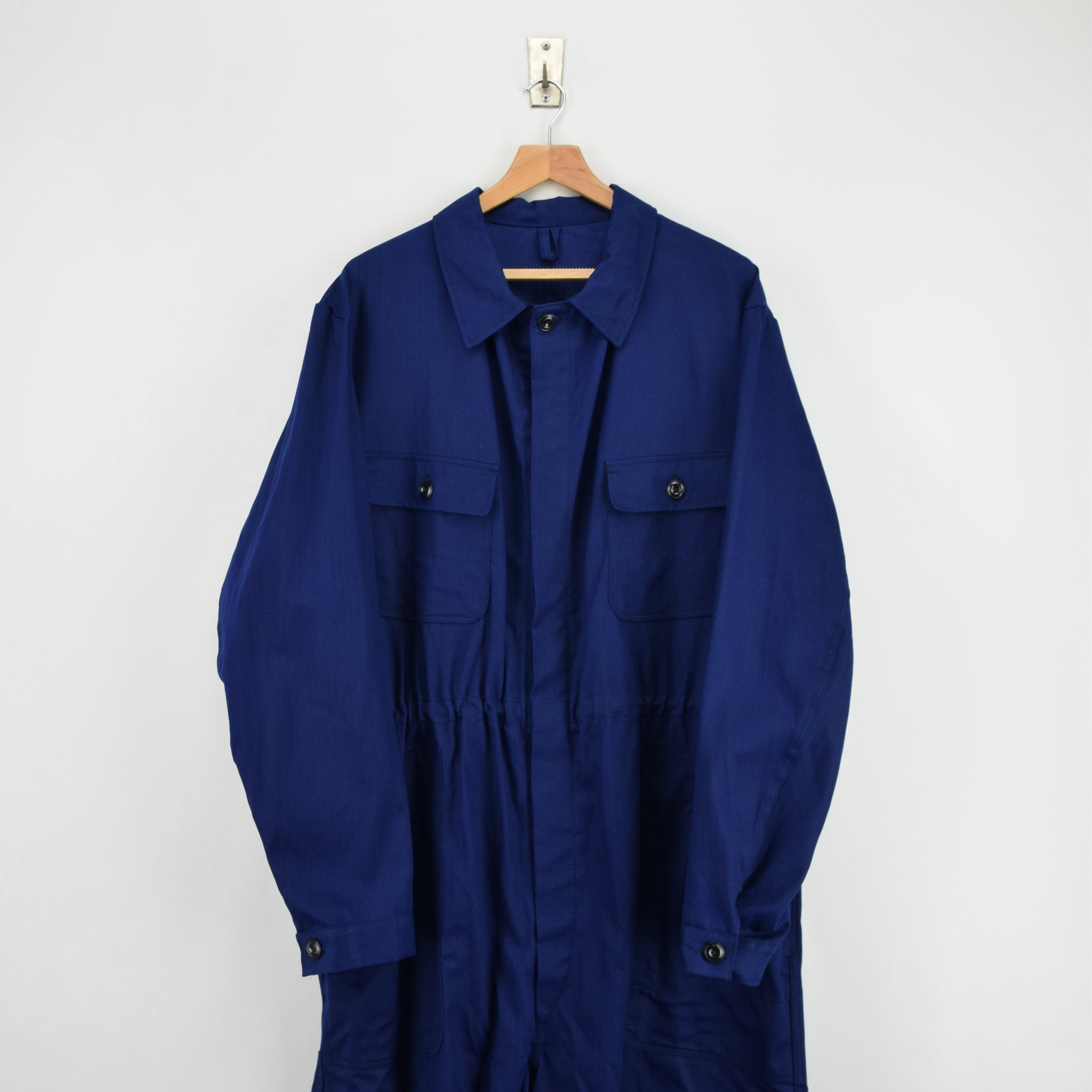 Vintage Workwear Coverall Indigo Blue French Style Overalls Boiler Suit XXL front