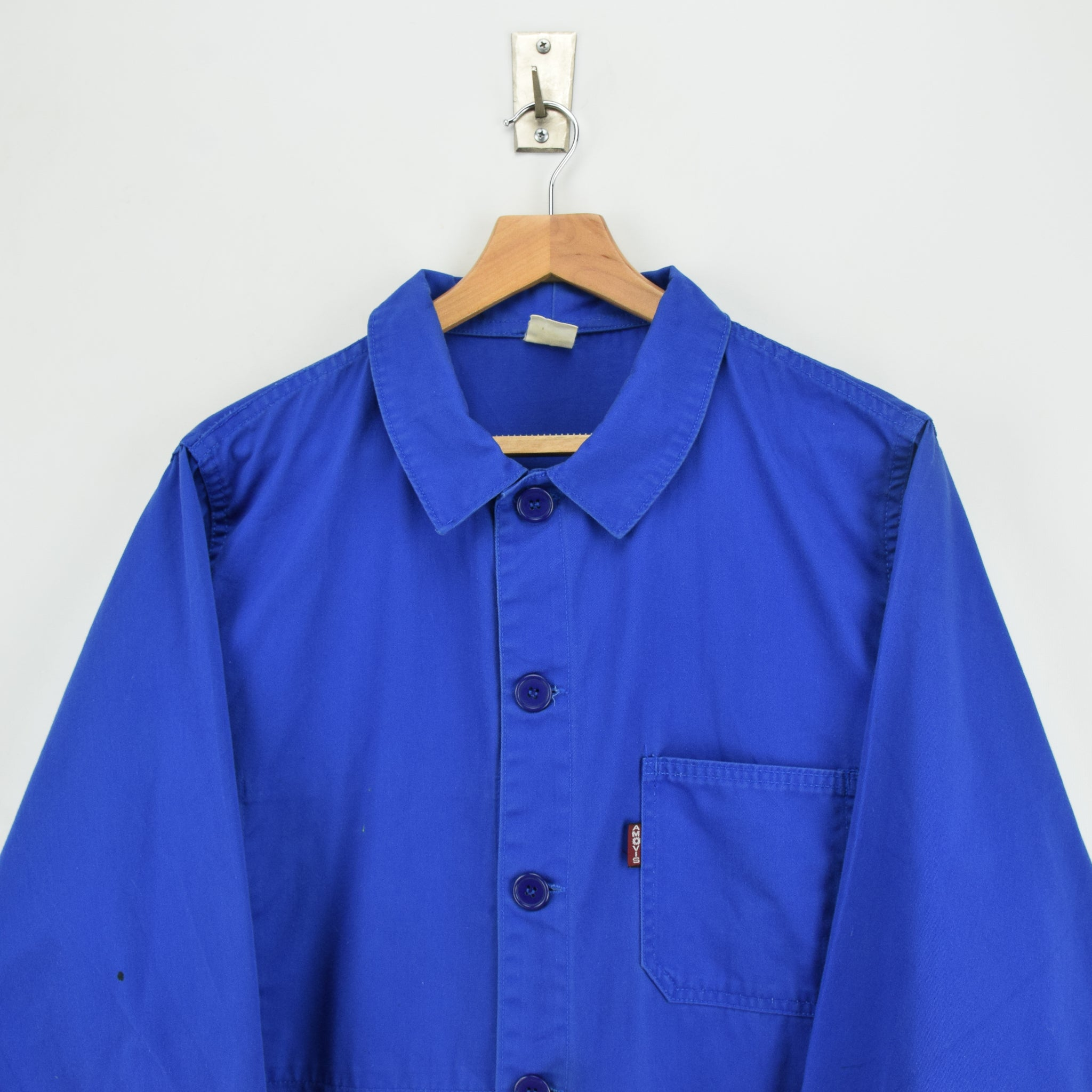 Vintage Bright Blue French Style Worker Sanforized Cotton Chore Jacket L chest