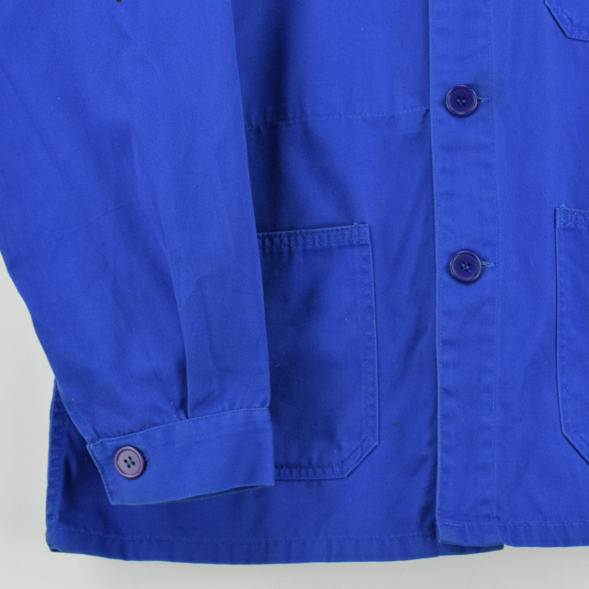 Vintage Bright Blue French Style Worker Sanforized Cotton Chore Jacket L front hem