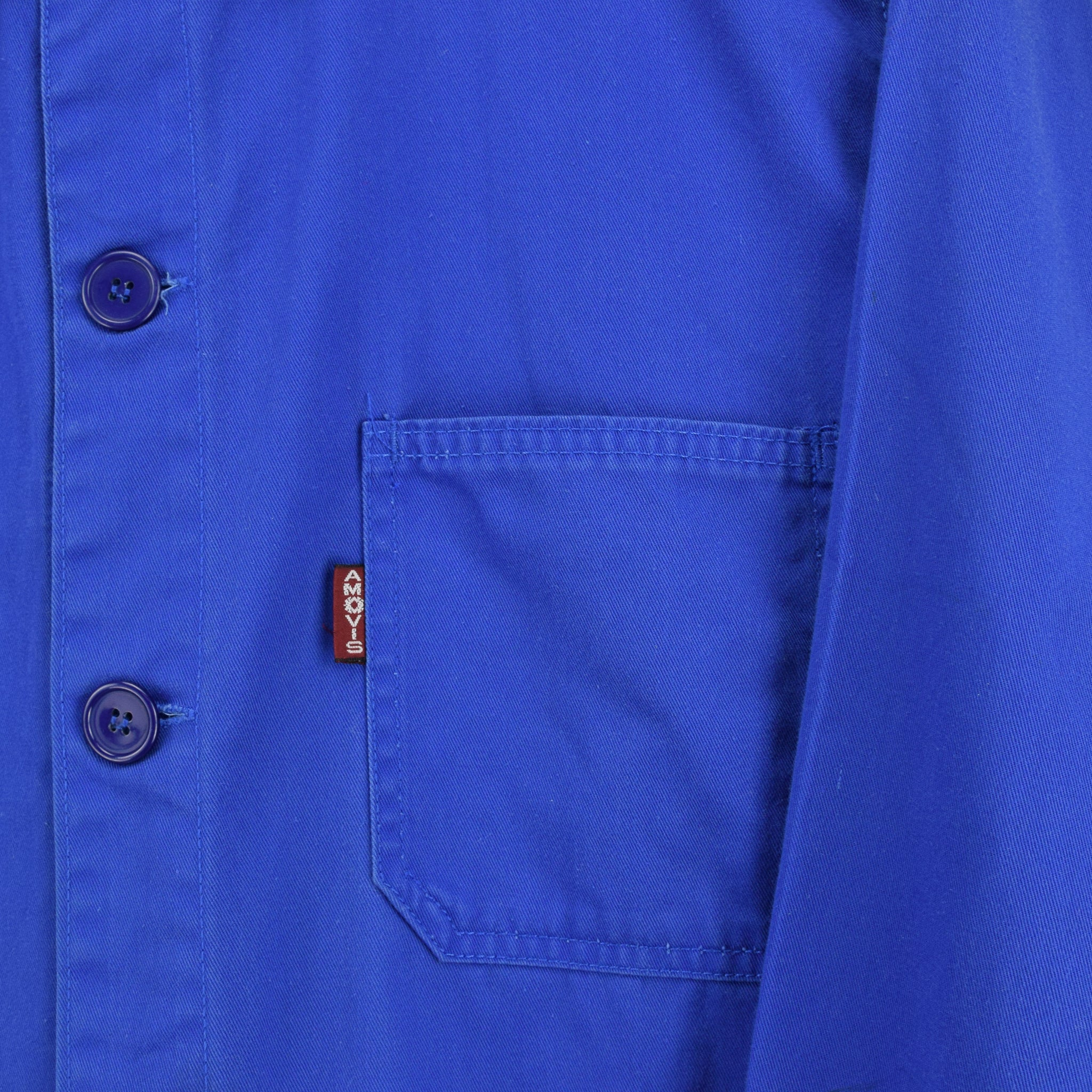 Vintage Bright Blue French Style Worker Sanforized Cotton Chore Jacket L pocket