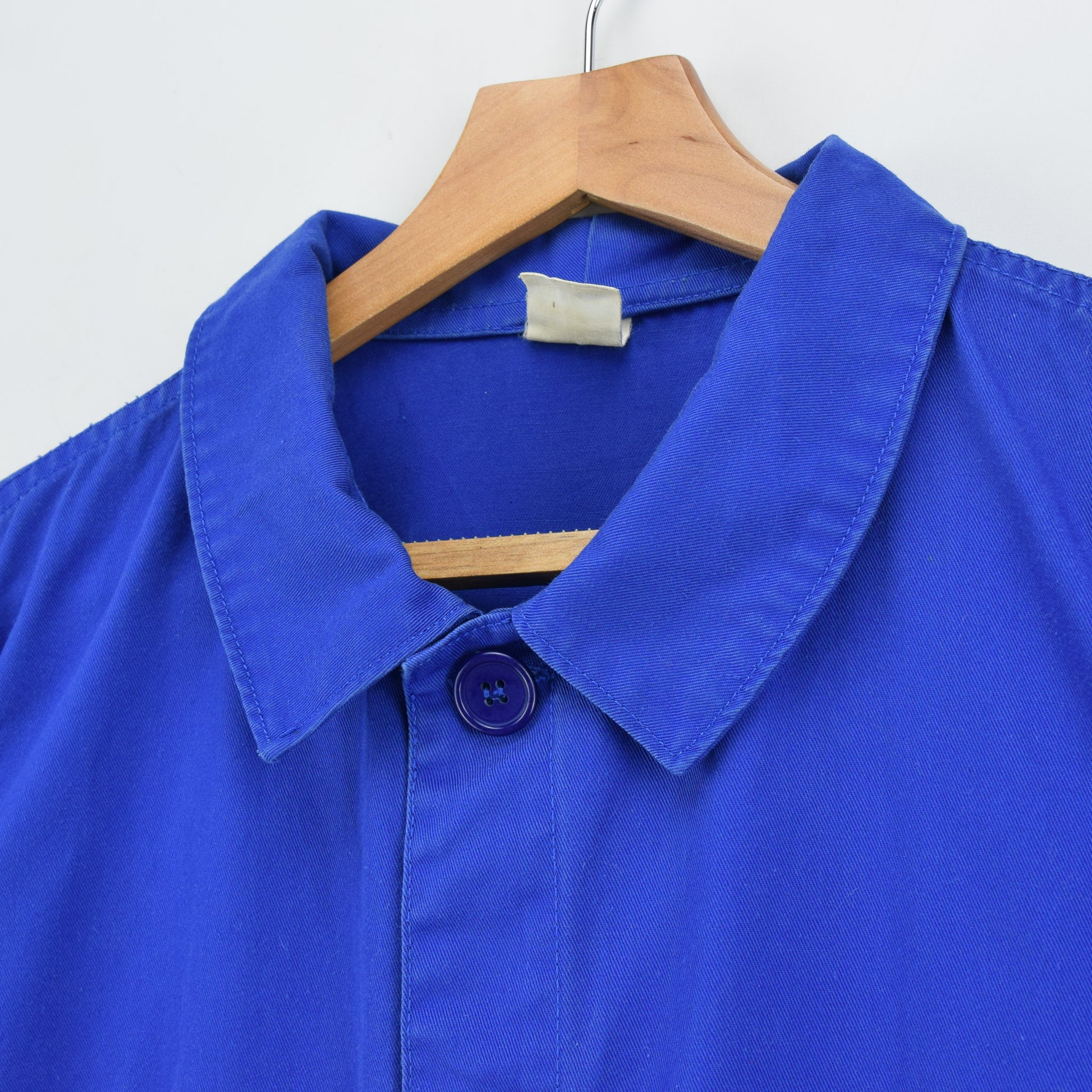 Vintage Bright Blue French Style Worker Sanforized Cotton Chore Jacket L collar