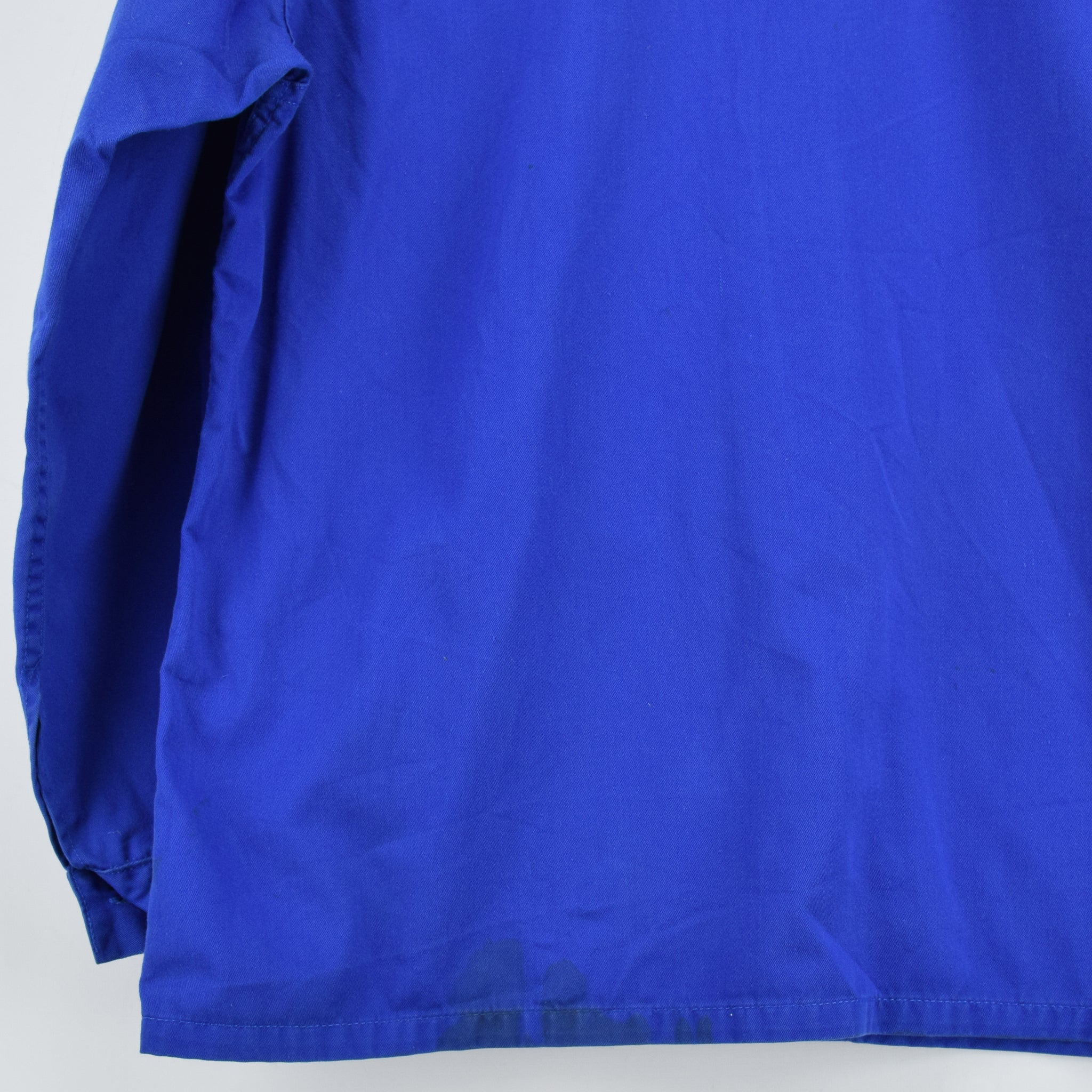 Vintage Bright Blue French Style Worker Sanforized Cotton Chore Jacket L back hem