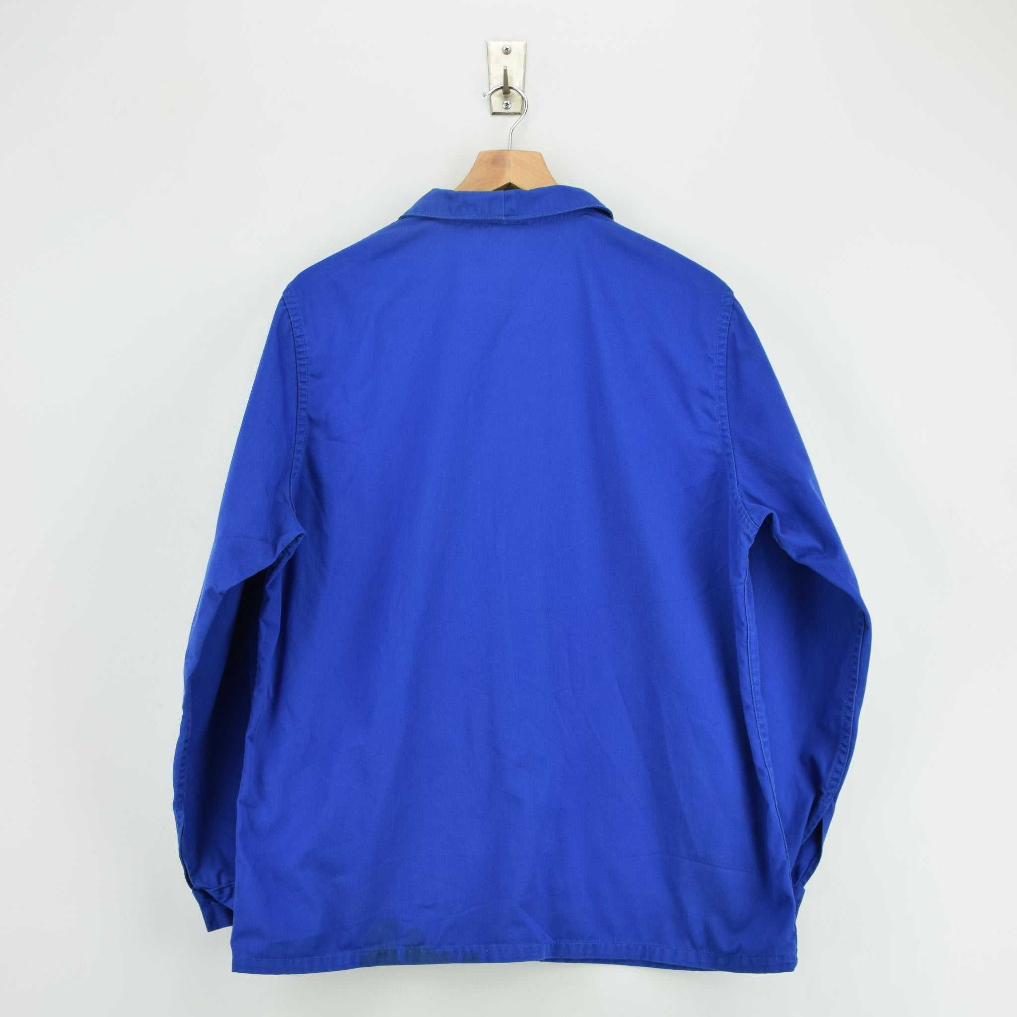 Vintage Bright Blue French Style Worker Sanforized Cotton Chore Jacket L back