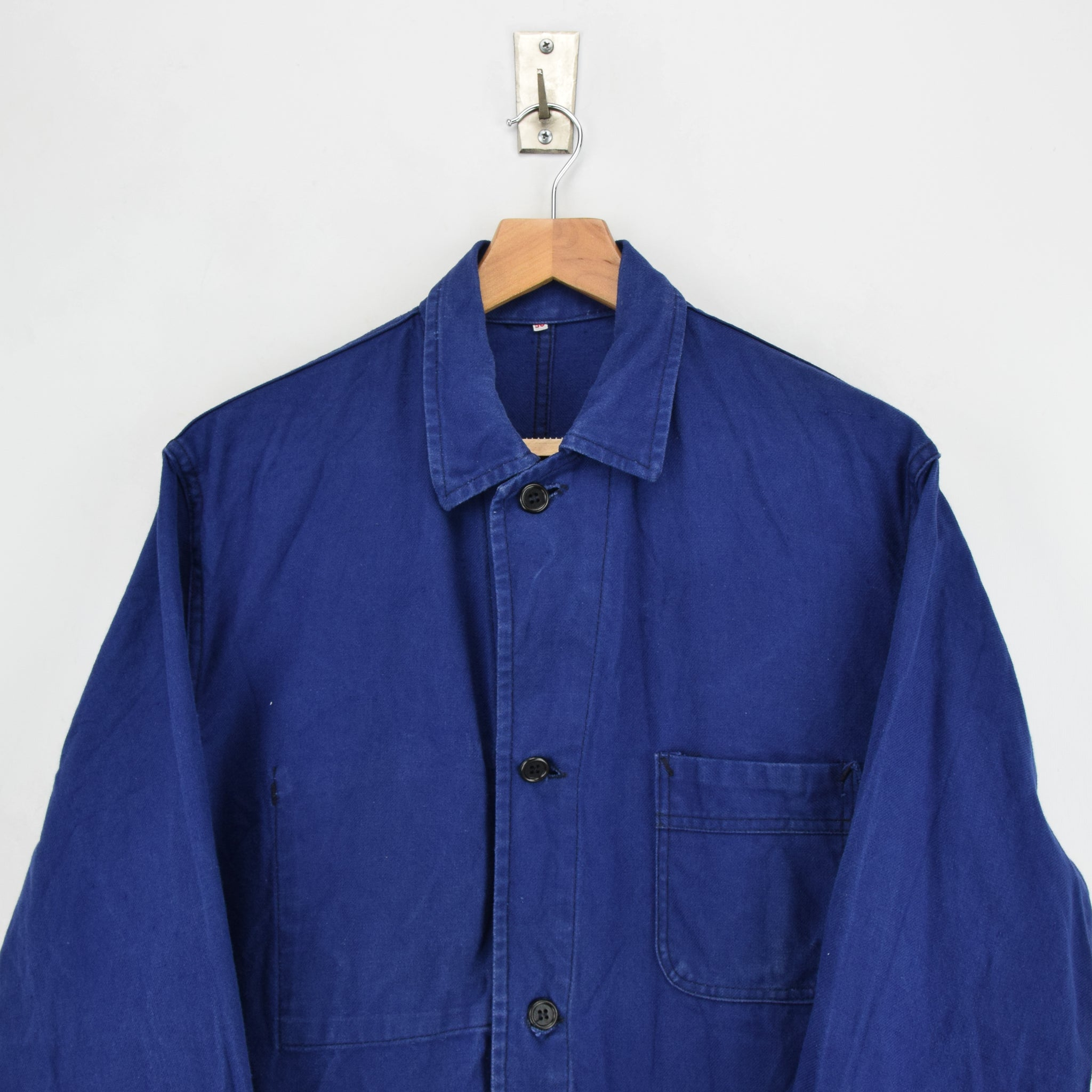 Vintage Indigo Blue French Worker Sanforized Cotton Chore Jacket M chest
