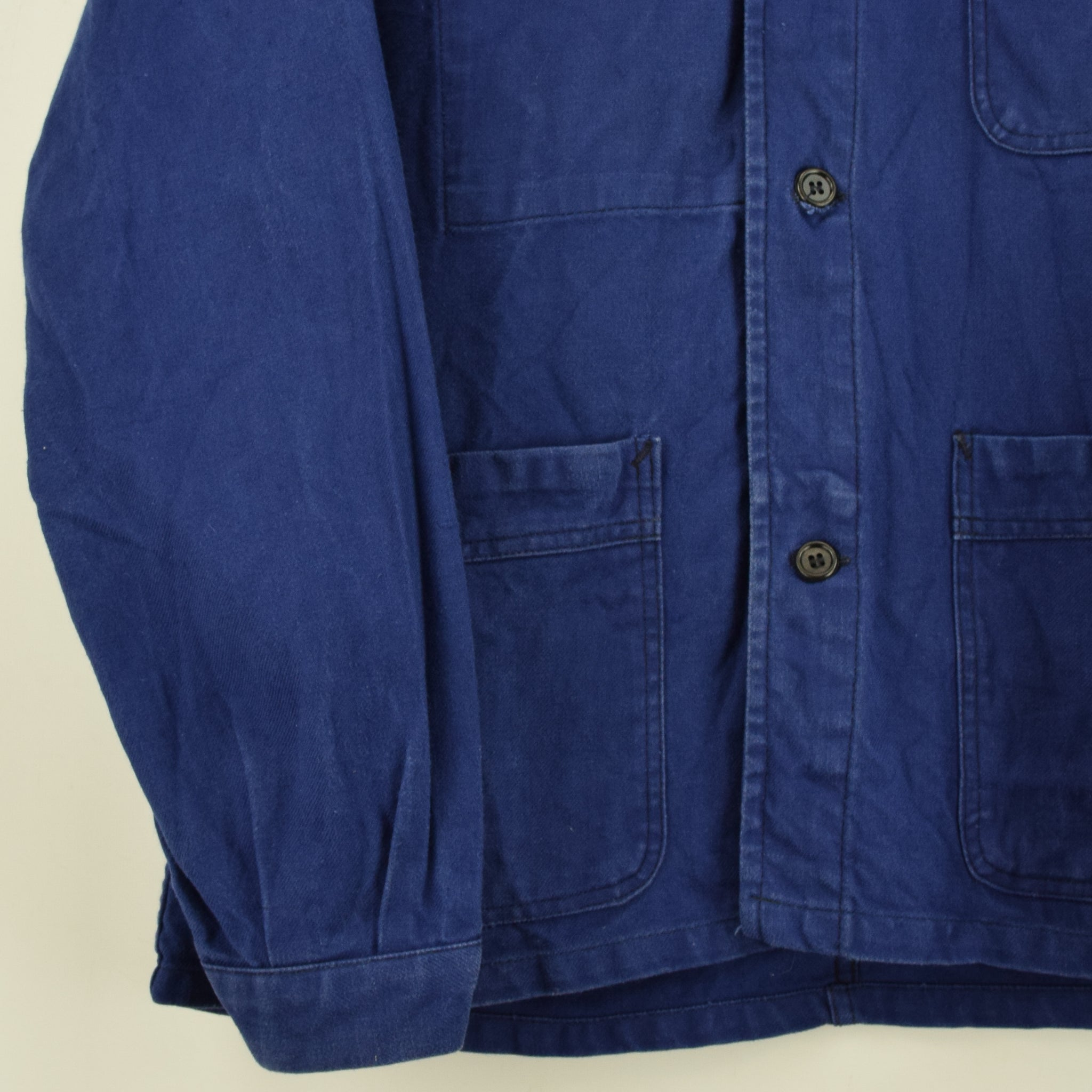 Vintage Indigo Blue French Worker Sanforized Cotton Chore Jacket M front hem