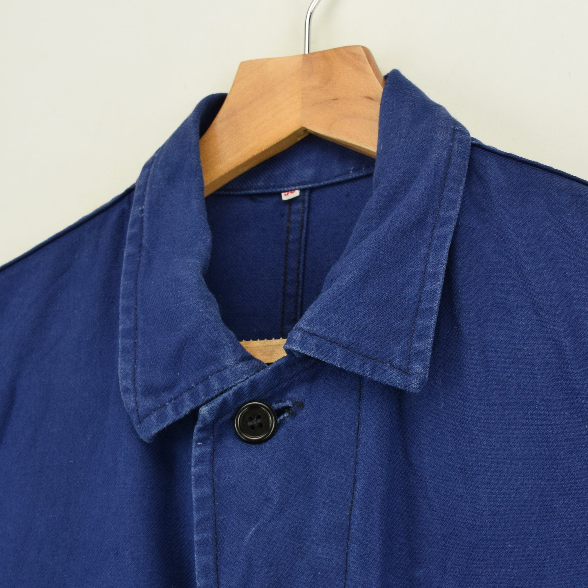 Vintage Indigo Blue French Worker Sanforized Cotton Chore Jacket M collar
