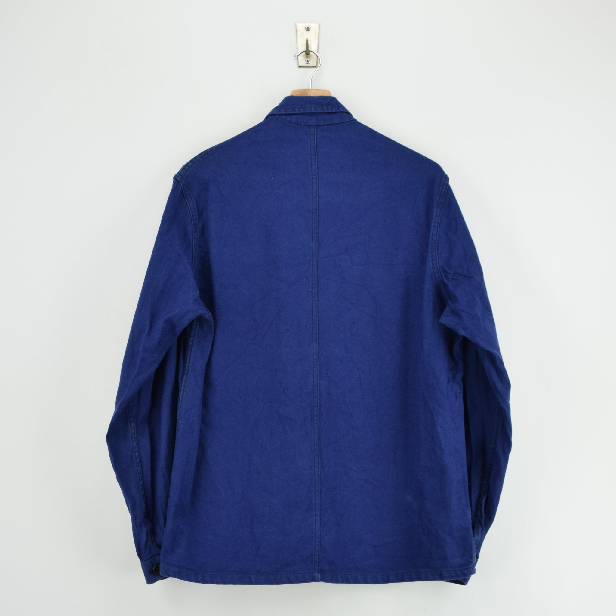 Vintage Indigo Blue French Worker Sanforized Cotton Chore Jacket M back