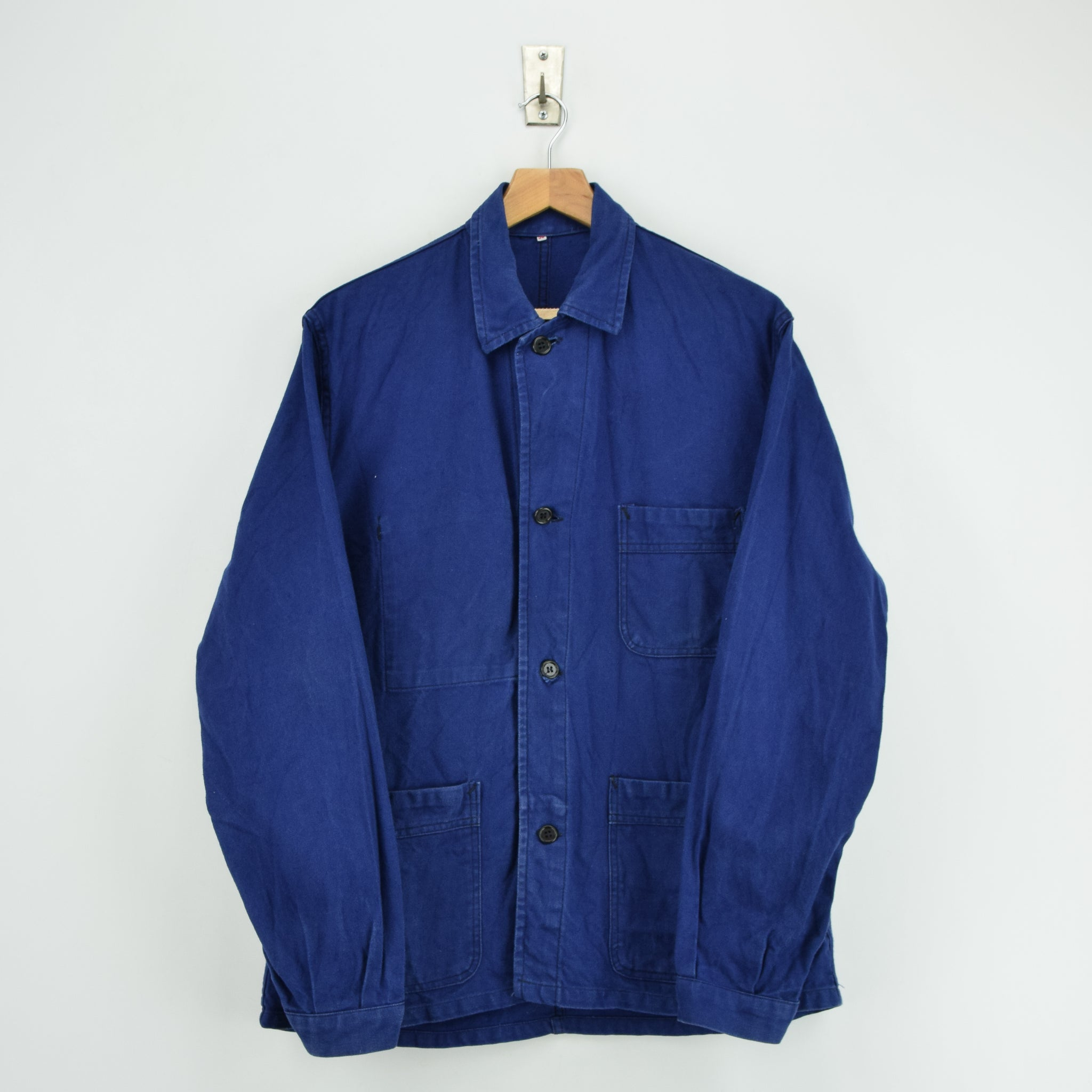 Vintage Indigo Blue French Worker Sanforized Cotton Chore Jacket M front