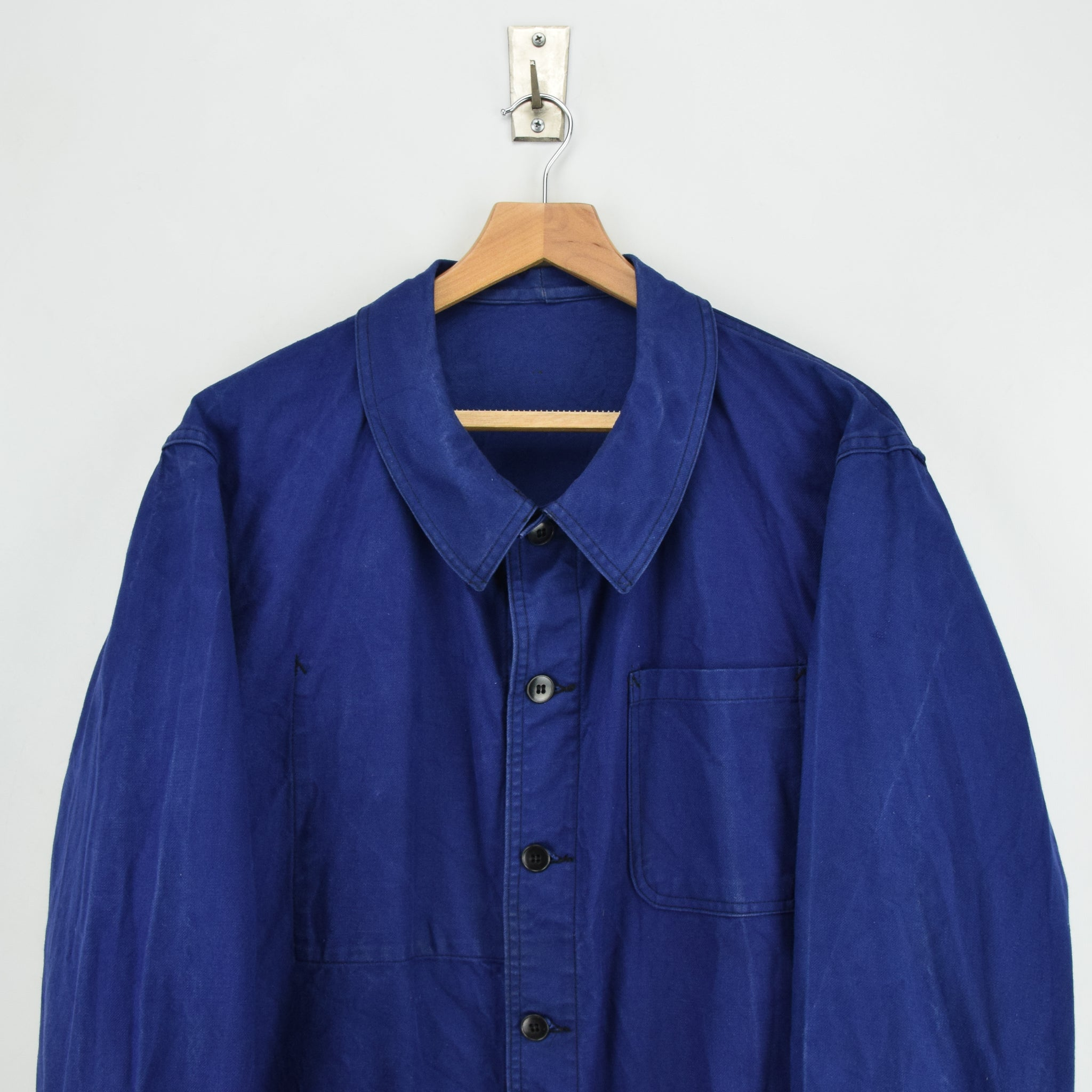 Vintage Indigo Blue French Worker Sanforized Cotton Chore Jacket L chest