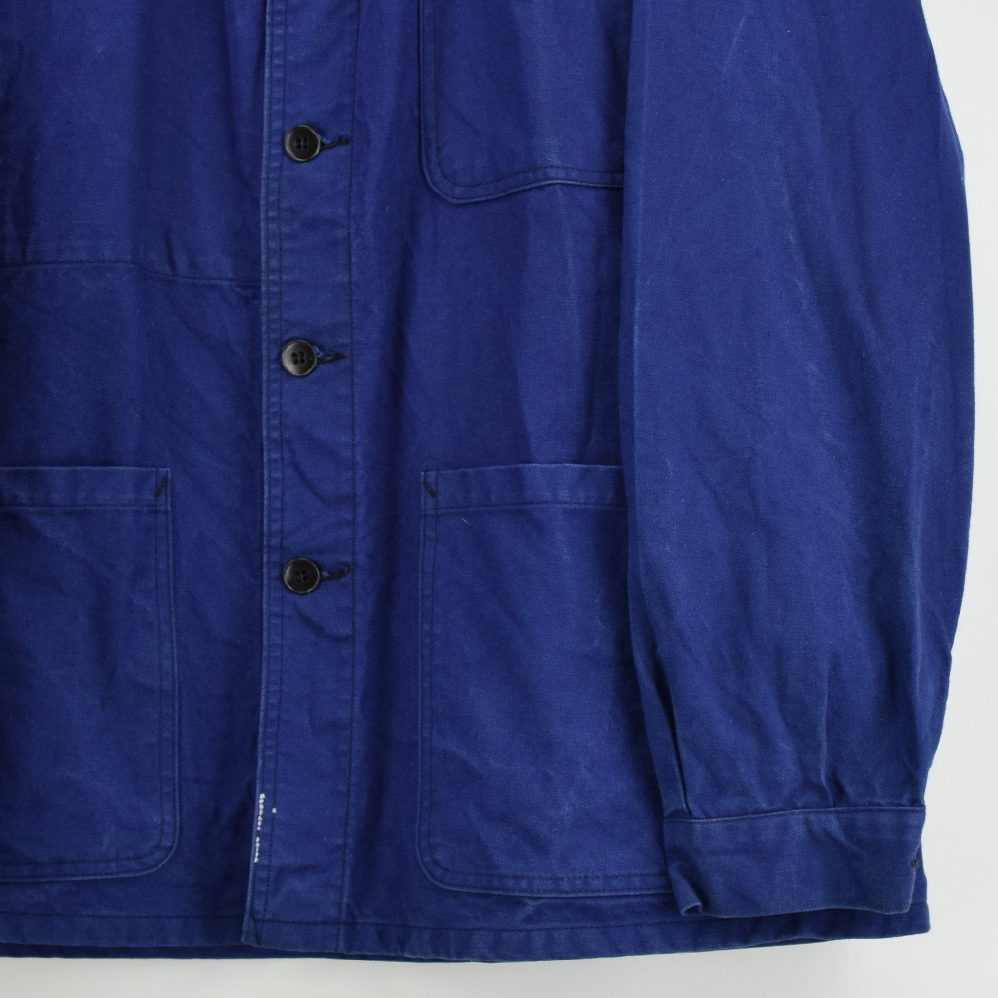 Vintage Indigo Blue French Worker Sanforized Cotton Chore Jacket L front hem