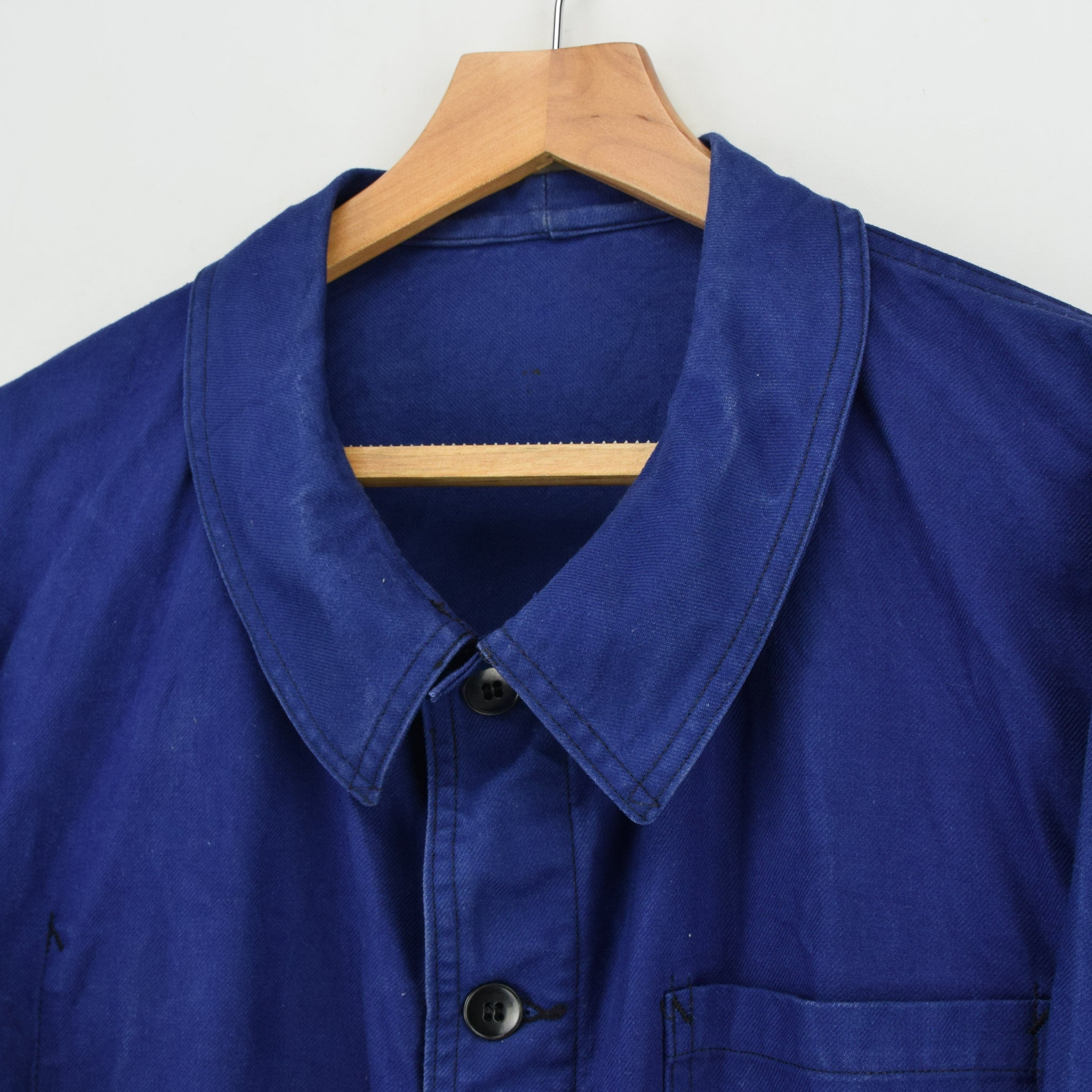 Vintage Indigo Blue French Worker Sanforized Cotton Chore Jacket L collar