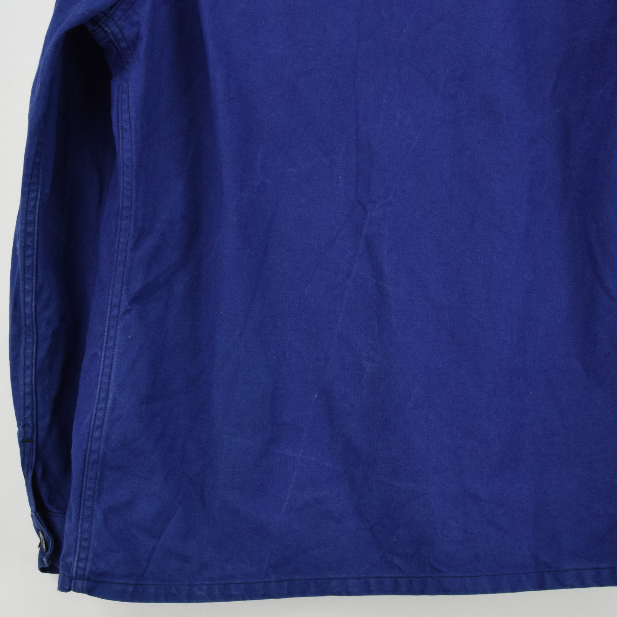 Vintage Indigo Blue French Worker Sanforized Cotton Chore Jacket L back hem