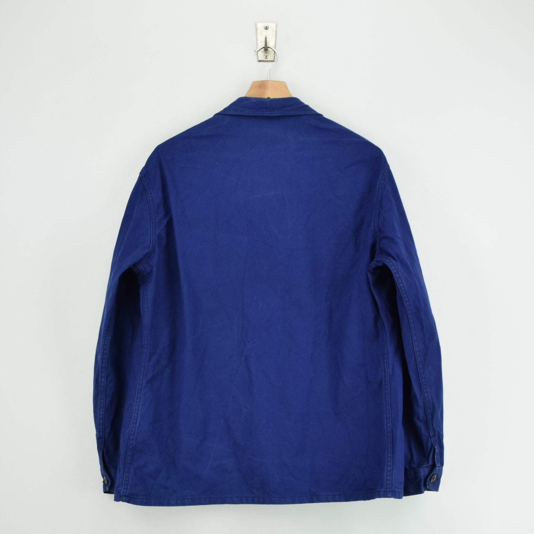Vintage Indigo Blue French Worker Sanforized Cotton Chore Jacket L back