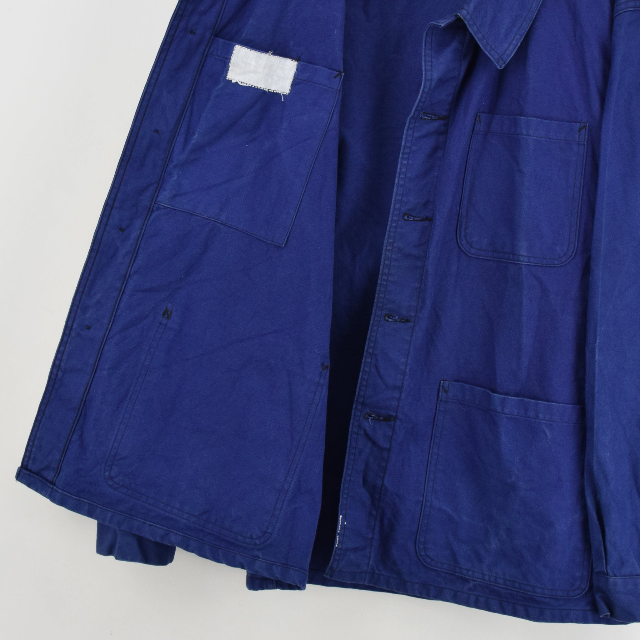 Vintage Indigo Blue French Worker Sanforized Cotton Chore Jacket L internal label lining