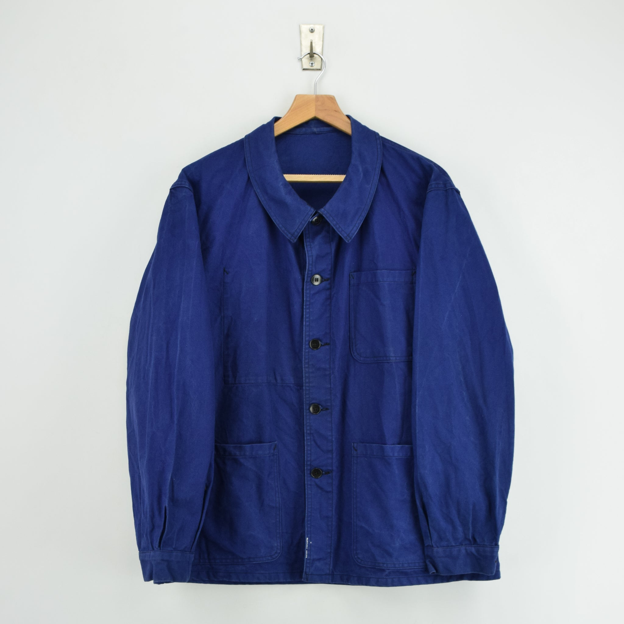 Vintage Indigo Blue French Worker Sanforized Cotton Chore Jacket L front