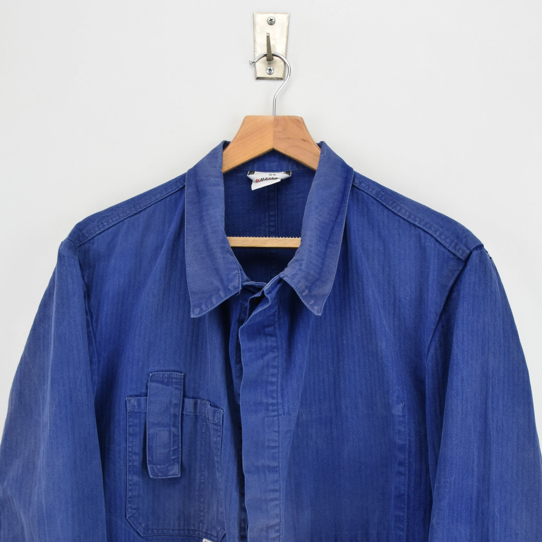 Vintage Distressed Blue French Style Worker Sanforized Cotton Chore Jacket L chest