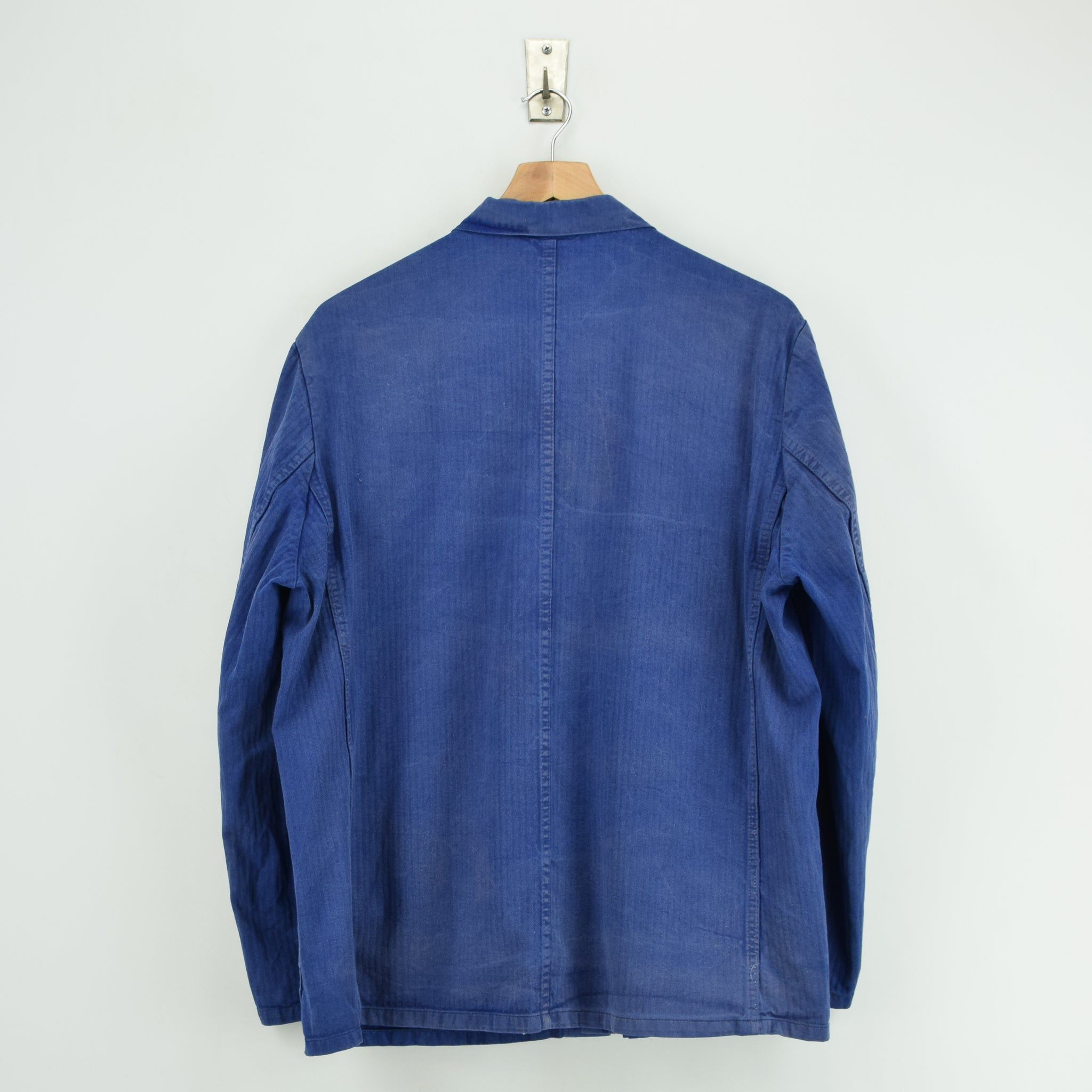Vintage Distressed Blue French Style Worker Sanforized Cotton Chore Jacket L back