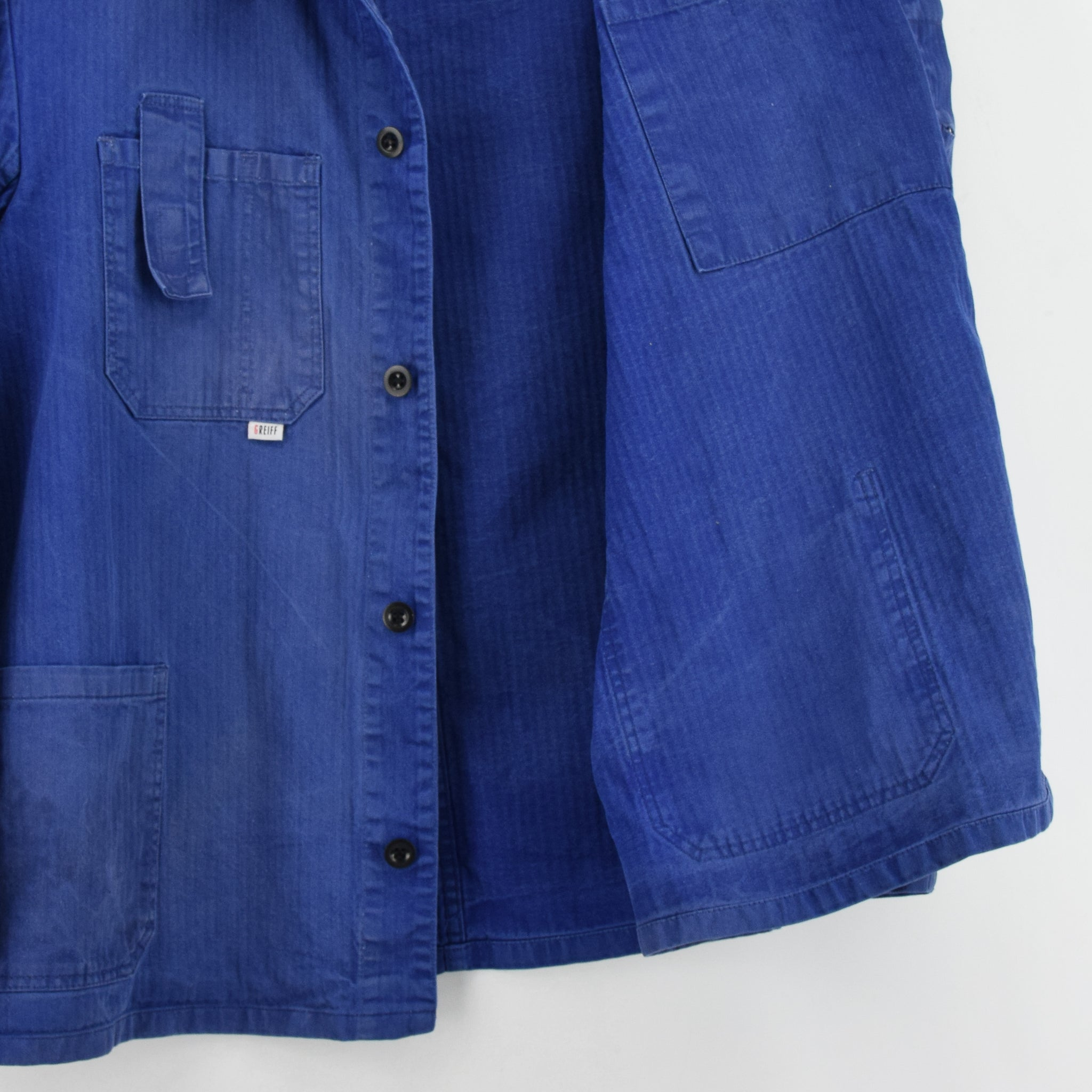 Vintage Distressed Blue French Style Worker Sanforized Cotton Chore Jacket L lining