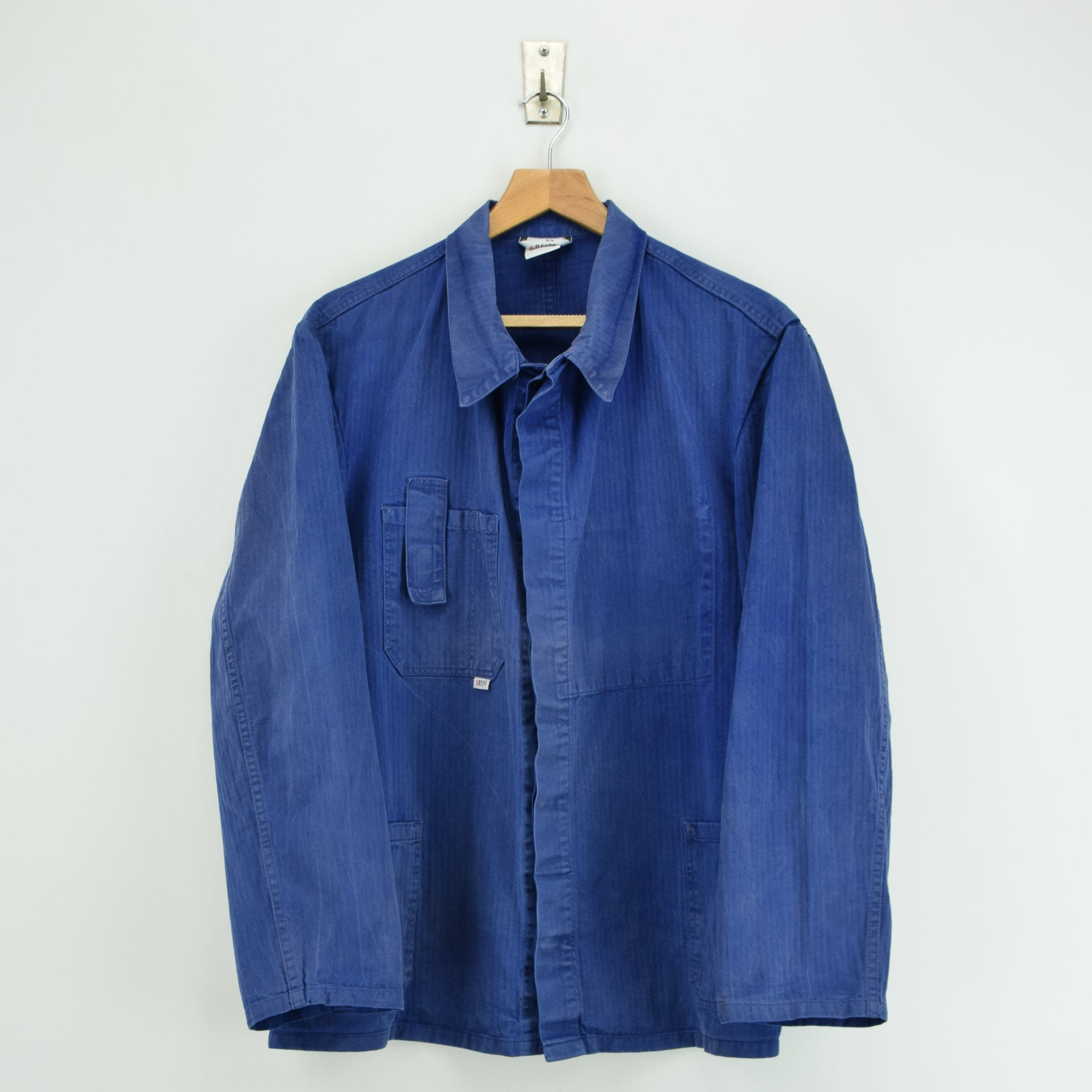 Vintage Distressed Blue French Style Worker Sanforized Cotton Chore Jacket L front