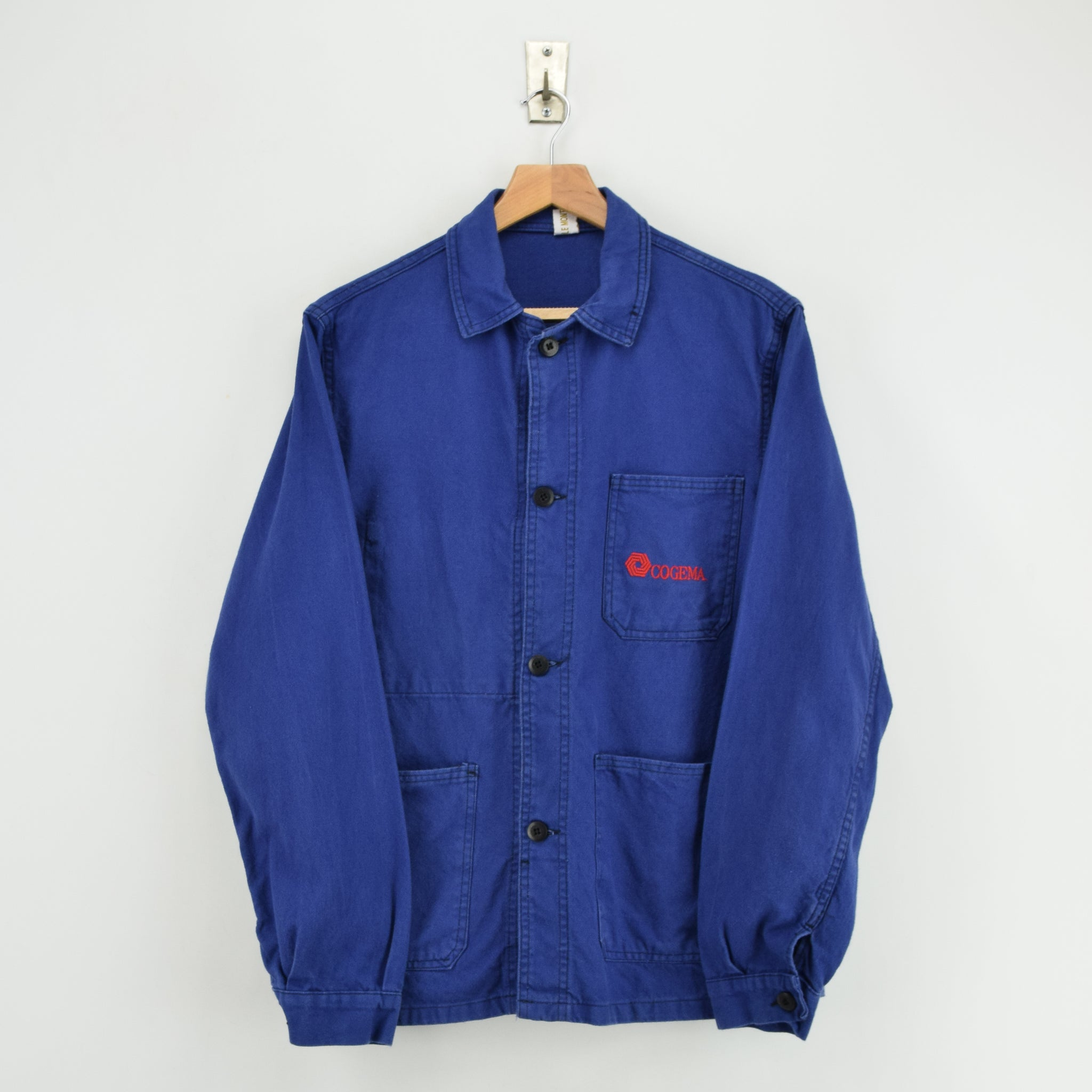 Vintage Washed Dark Blue French Worker Sanforized Cotton Chore Jacket S front