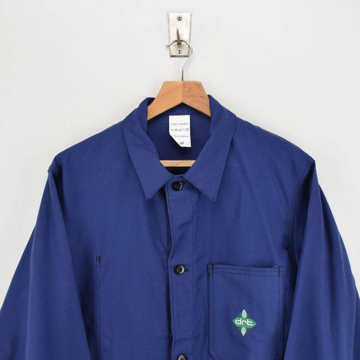 Vintage French Worker Indigo Blue Deadstock Sanforized Cotton Chore Jacket M chest