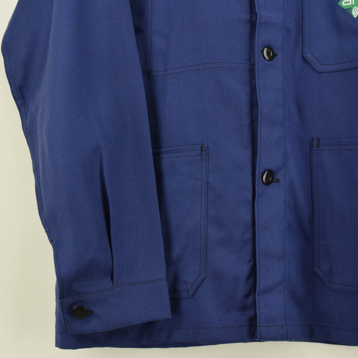 Vintage French Worker Indigo Blue Deadstock Sanforized Cotton Chore Jacket M front hem