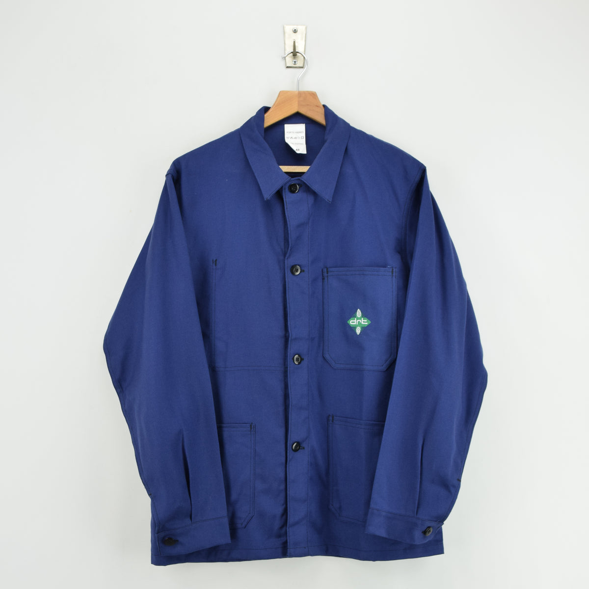 Vintage French Worker Indigo Blue Deadstock Sanforized Cotton Chore Jacket M front