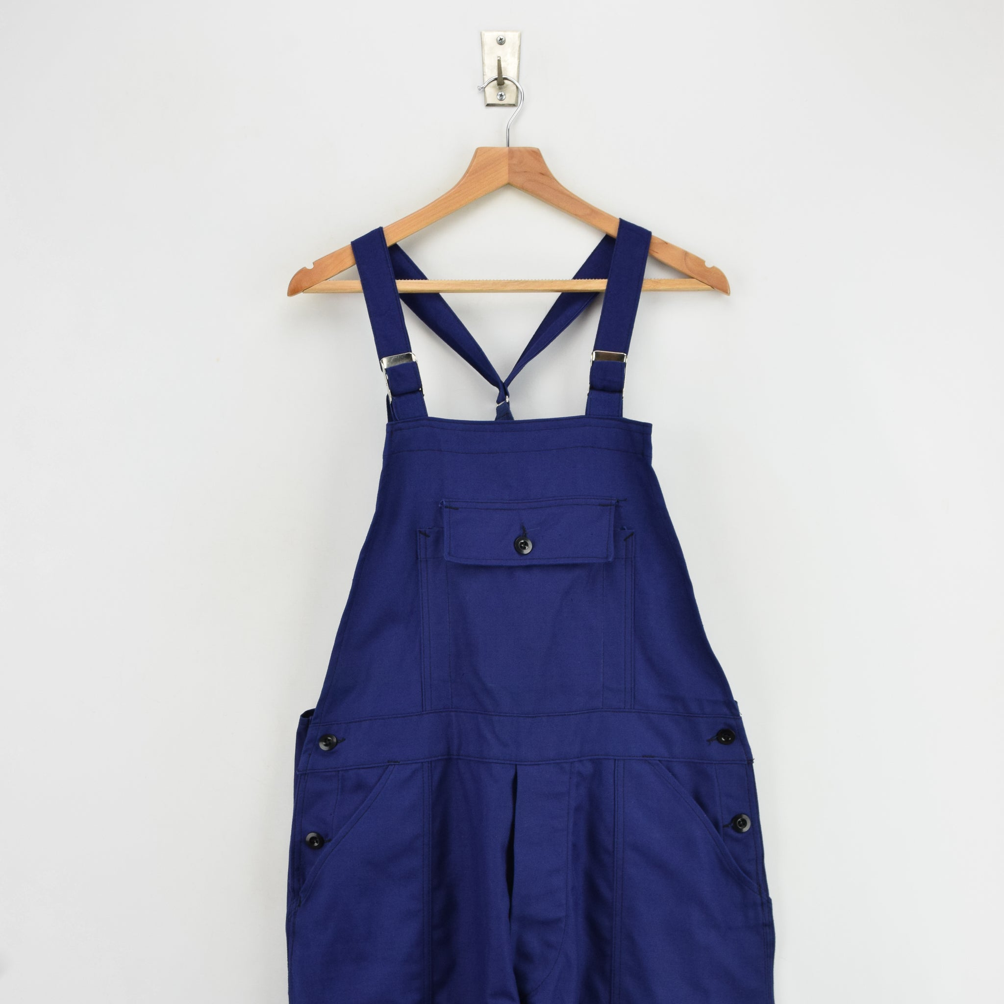 Vintage French Deadstock Workwear Dungarees Indigo Blue Overalls Trousers S front