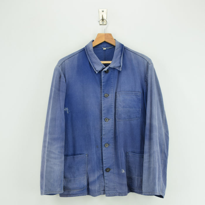 Vintage Distressed Blue French Style Worker Sanforized Cotton Chore Jacket M front