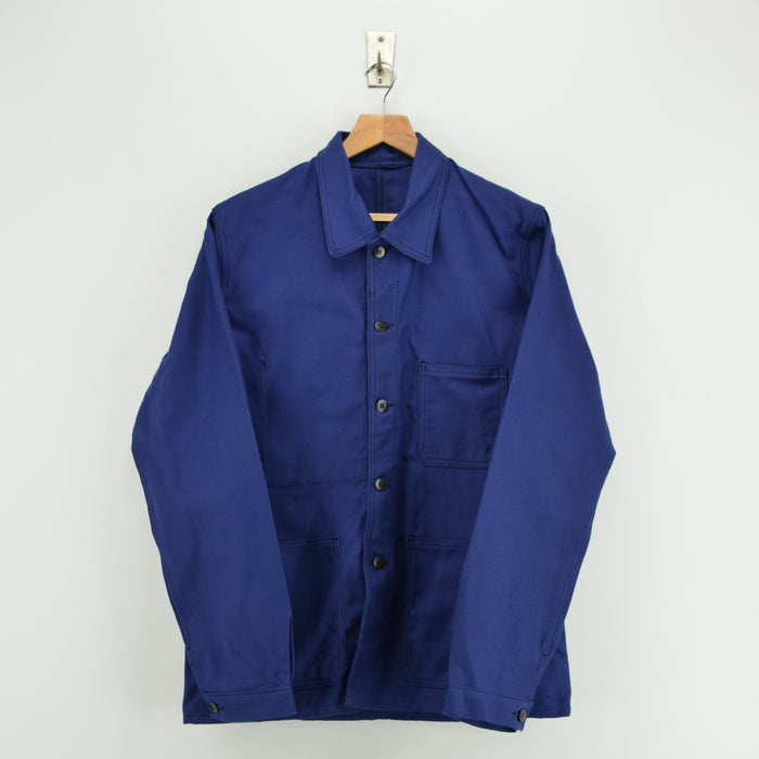 Vintage Deadstock Indigo Blue French Worker Sanforized Cotton Chore Jacket M front