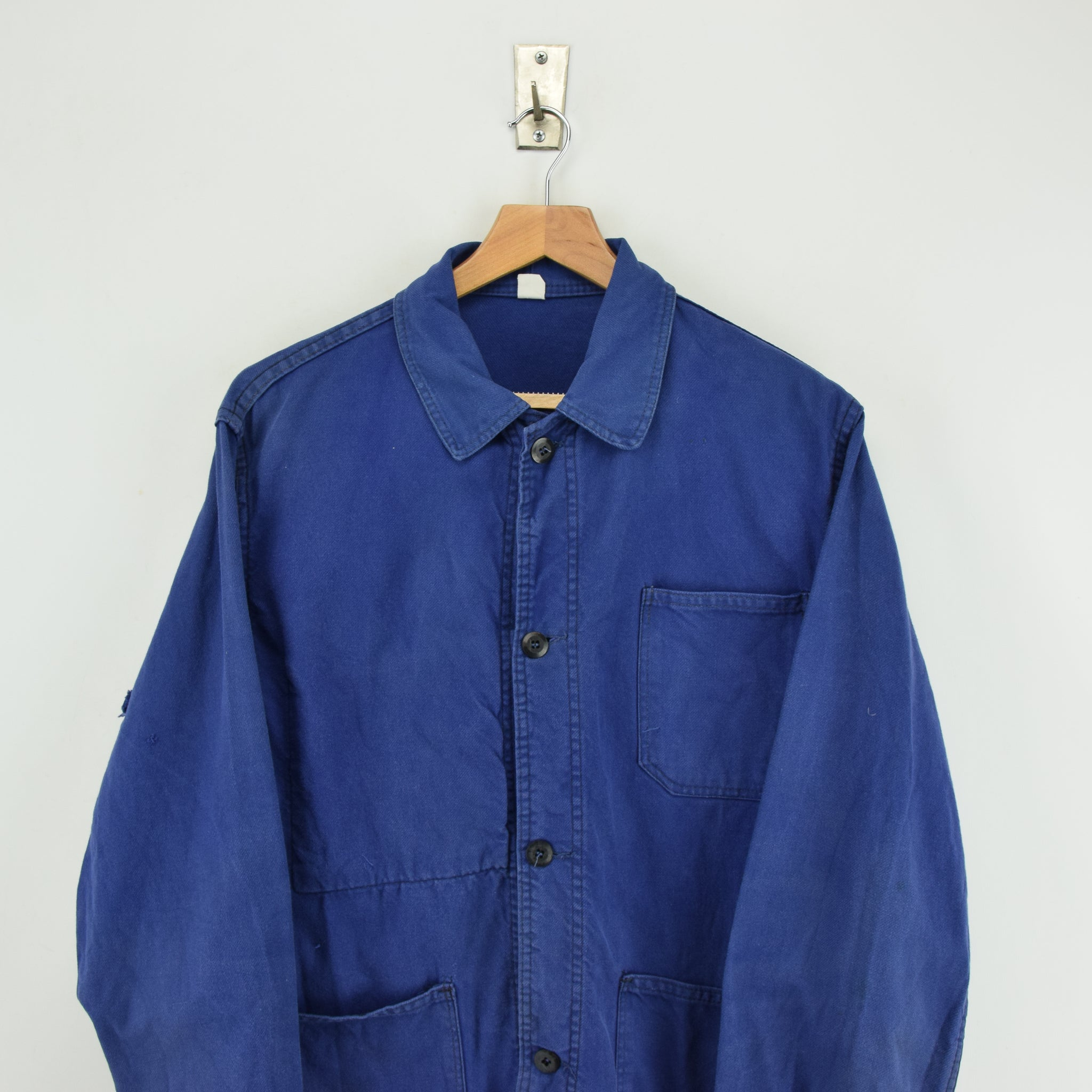 Vintage Washed Blue French Worker Sanforized Cotton Chore Jacket M chest