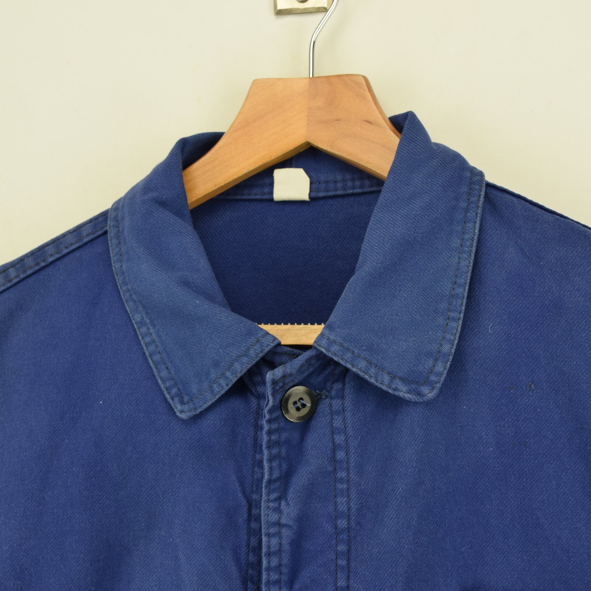 Vintage Washed Blue French Worker Sanforized Cotton Chore Jacket M collar
