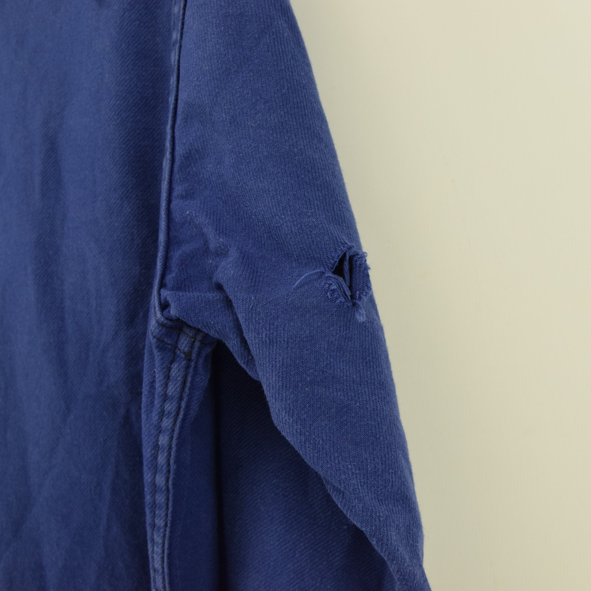 Vintage Washed Blue French Worker Sanforized Cotton Chore Jacket M arm