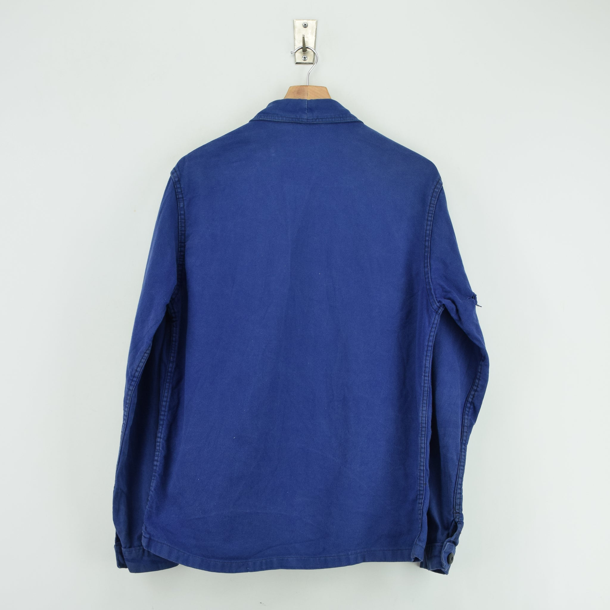 Vintage Washed Blue French Worker Sanforized Cotton Chore Jacket M back