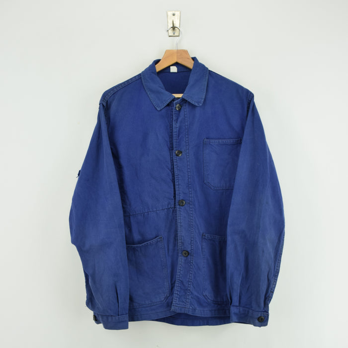 Vintage Washed Blue French Worker Sanforized Cotton Chore Jacket M front