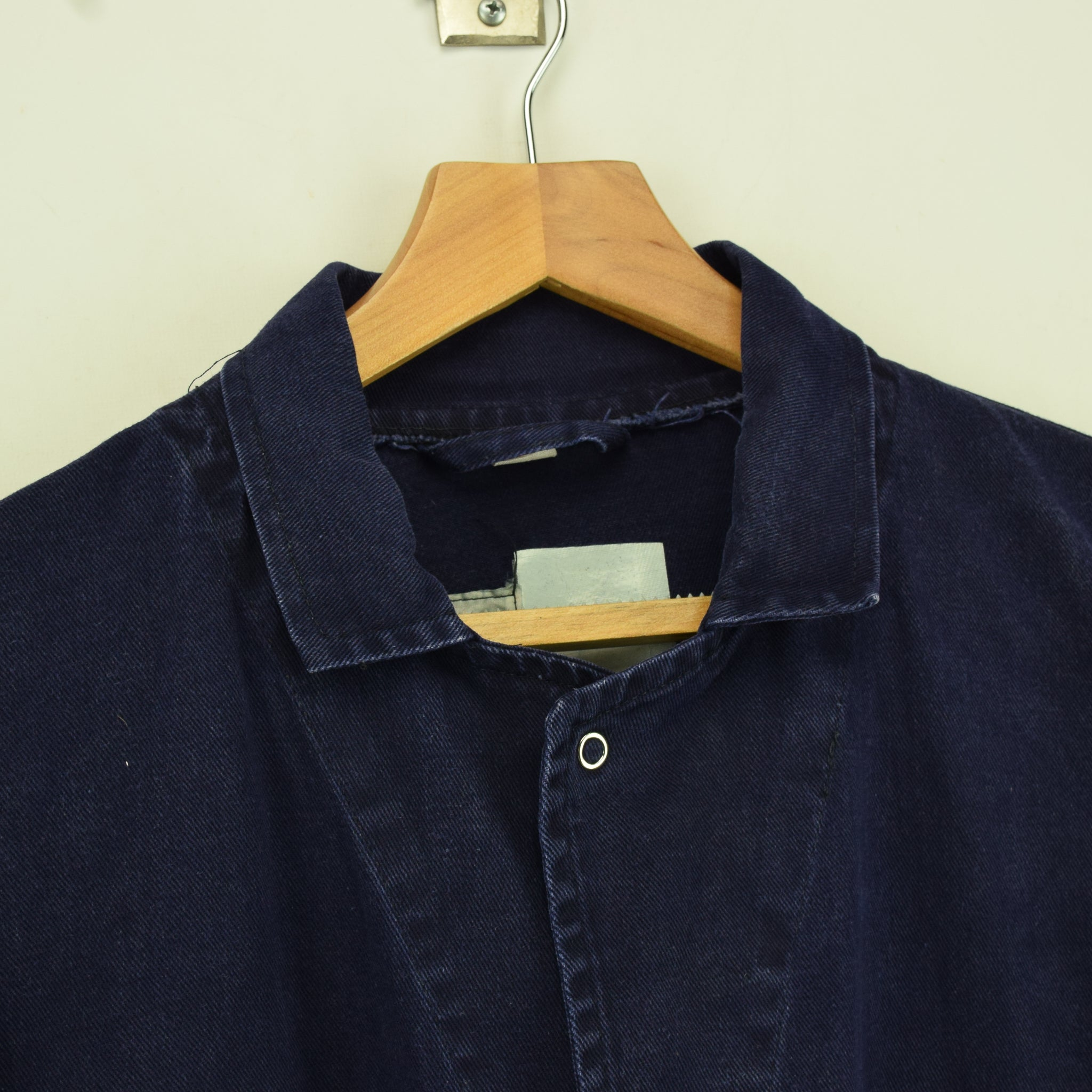 Vintage Distressed Blue French Style Worker Sanforized Cotton Chore Jacket XL collar