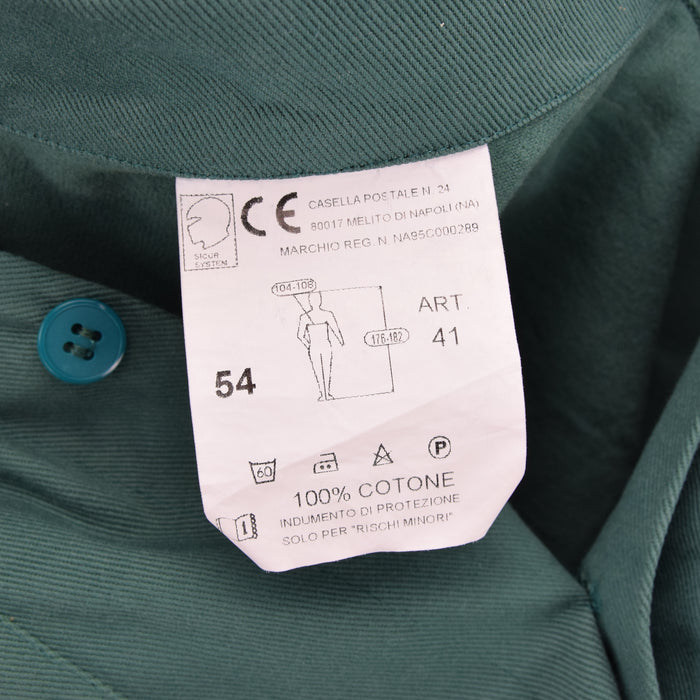 Vintage Green French Style Worker Sanforized Chore Jacket Made in Italy XL label