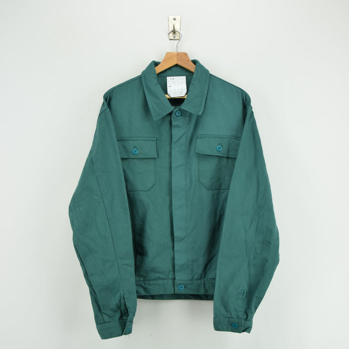 Vintage Green French Style Worker Sanforized Chore Jacket Made in Italy XL front
