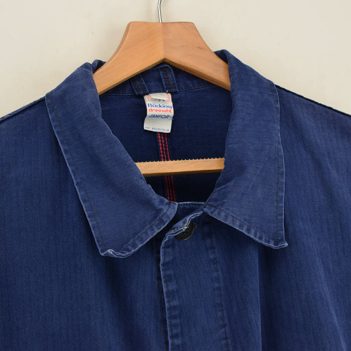 Vintage Washed Blue French Style Worker Sanforized Cotton Chore Jacket XXL collar